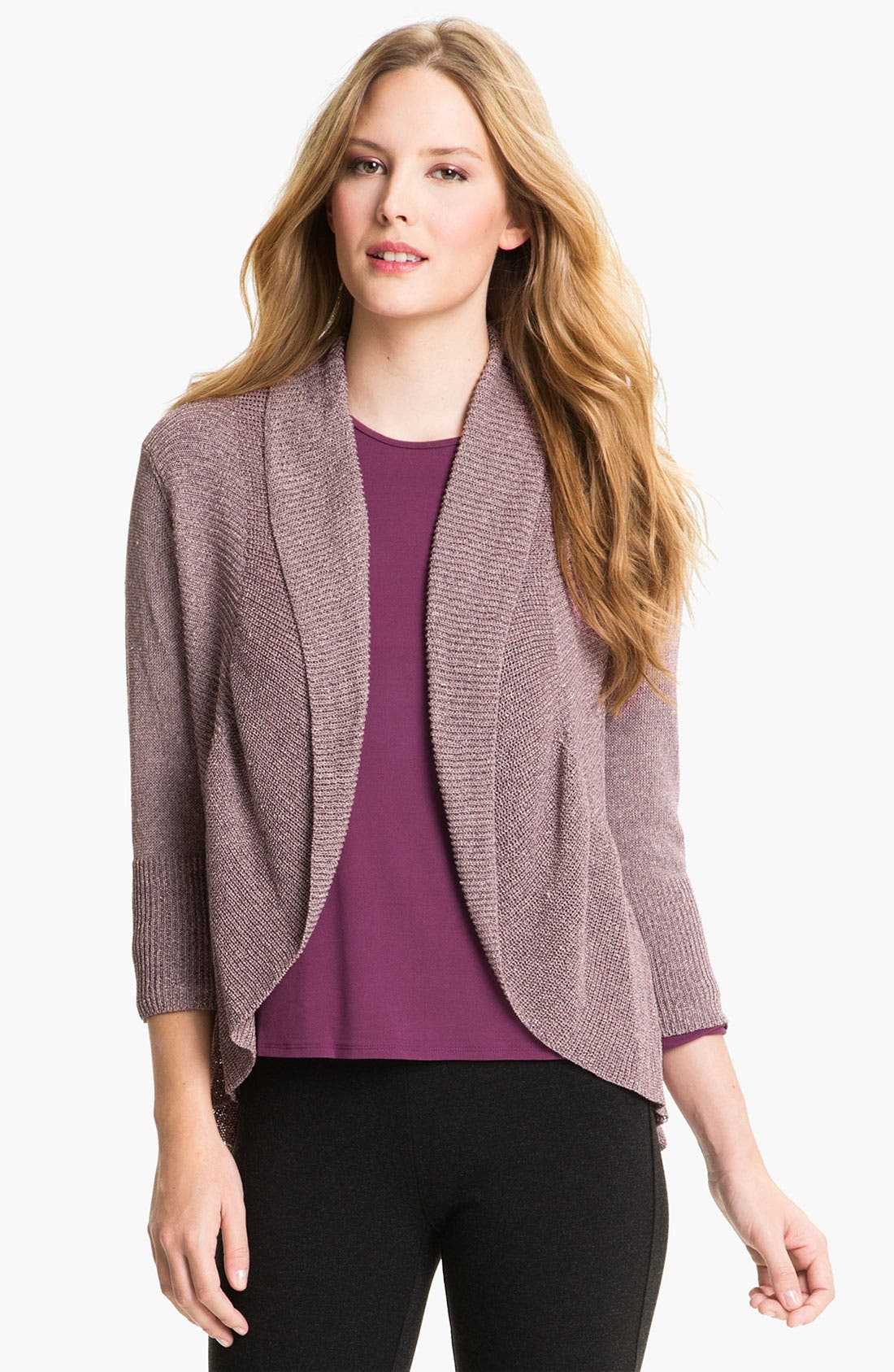 Alternate Image 1 Selected - Eileen Fisher Ribbed Ruffle Cardigan
