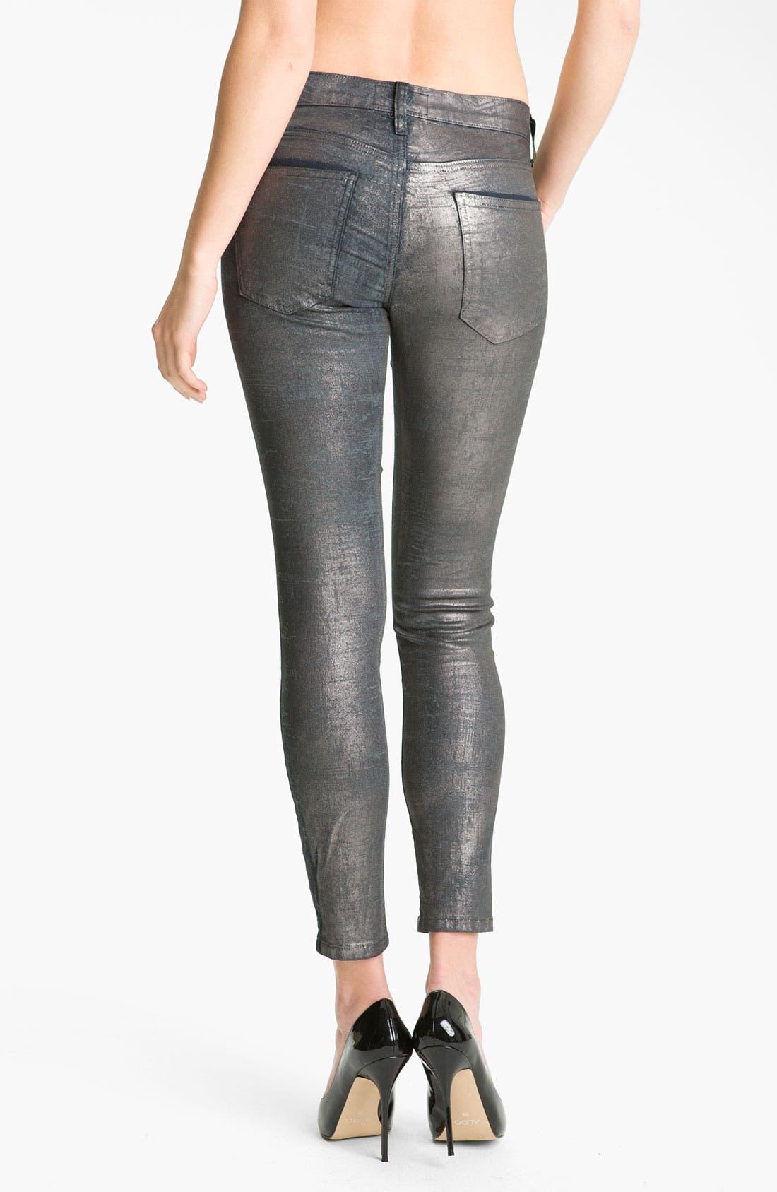 Alternate Image 2  - Current/Elliott Metallic Skinny Jeans (Silver Coated Foil)