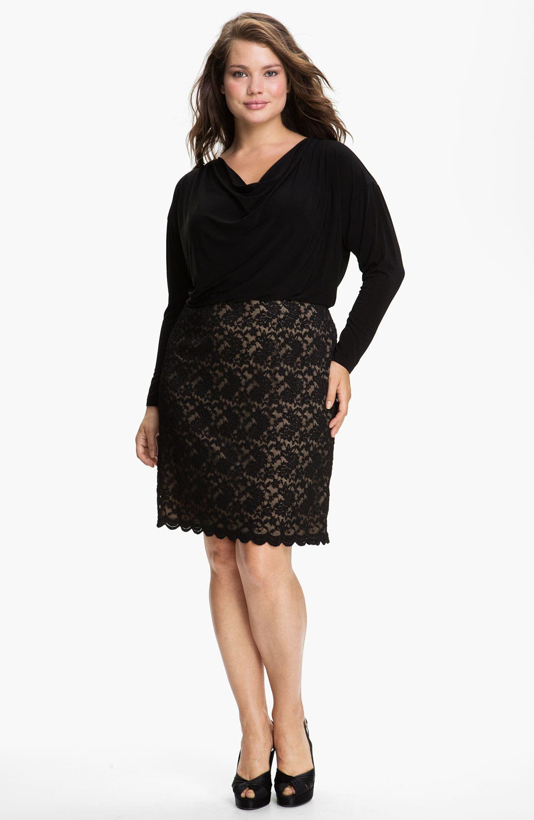 Alternate Image 1 Selected - Adrianna Papell Lace Skirt Blouson Dress (Plus)