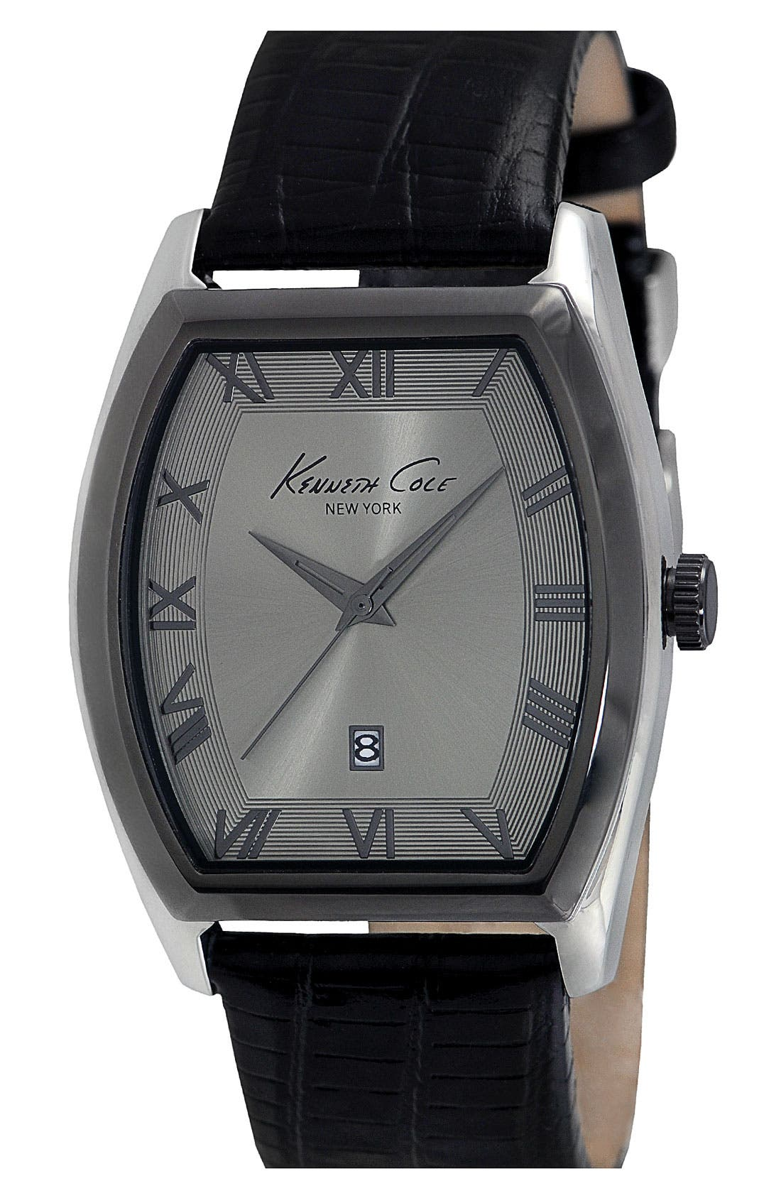 Main Image - Kenneth Cole New York Tonneau Leather Strap Watch, 40mm