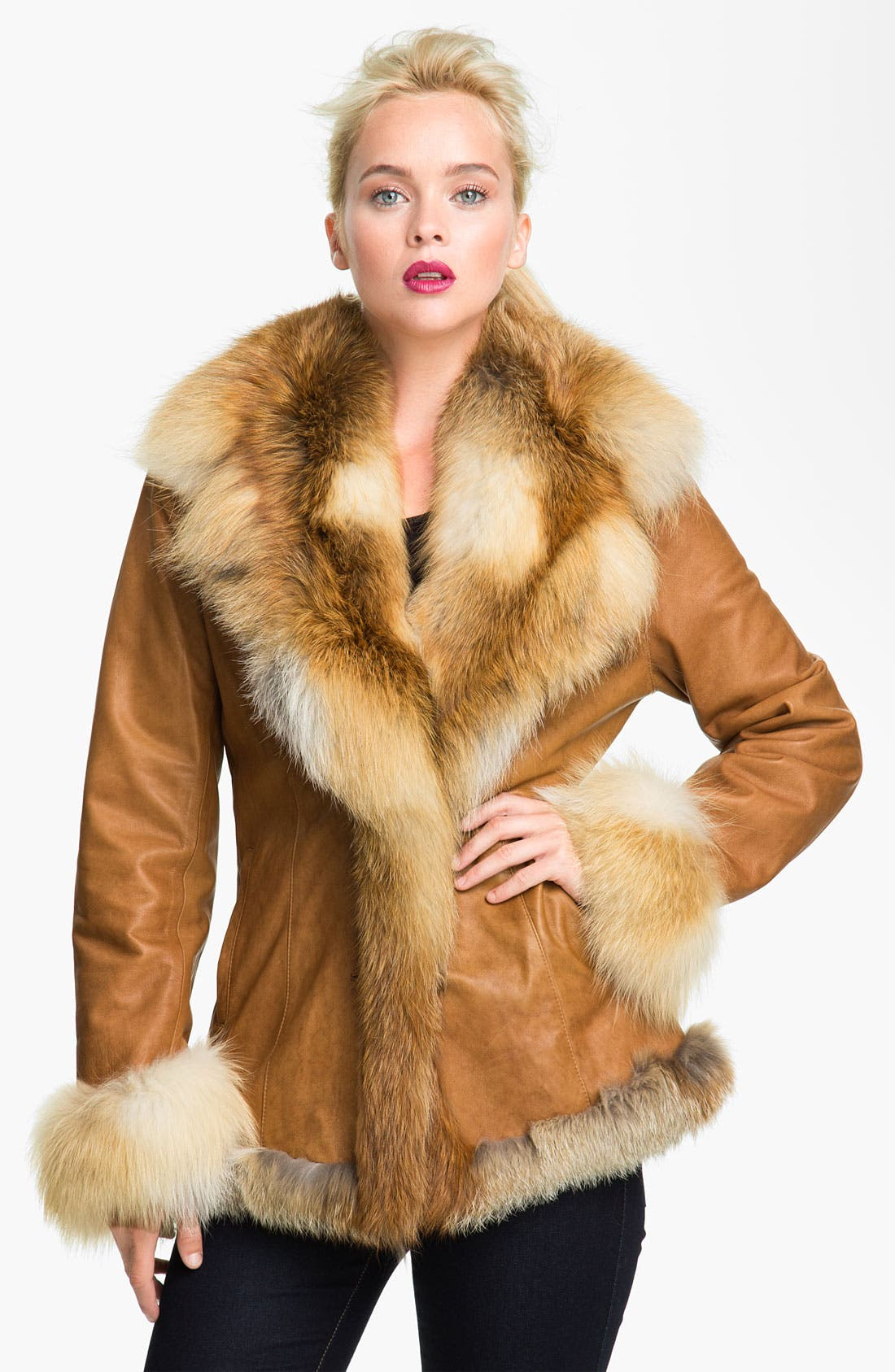 Main Image - Chosen Furs Lambskin Leather Coat with Fox Fur Trim
