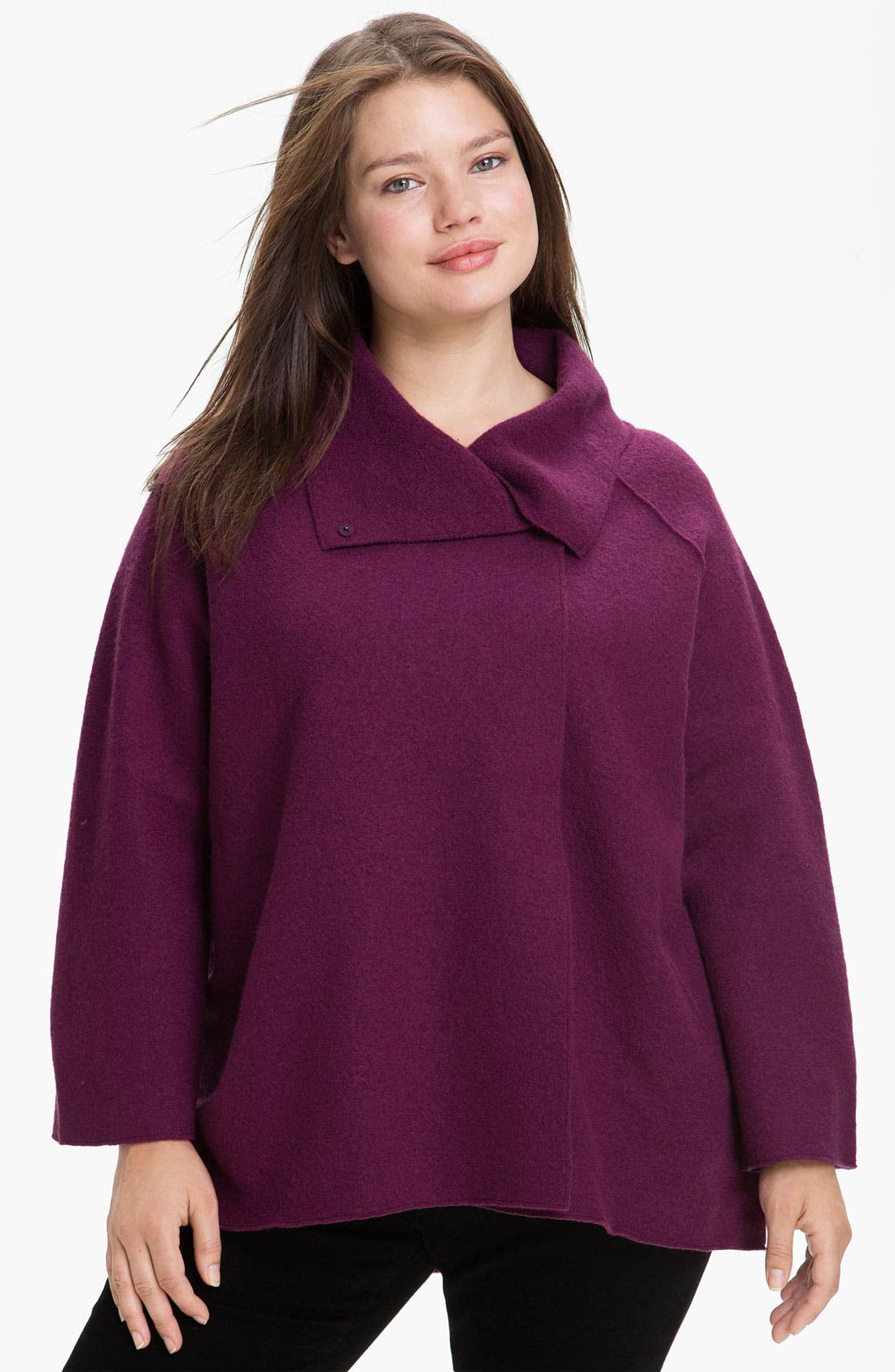 Main Image - Eileen Fisher Funnel Neck Boiled Wool Coat (Plus)