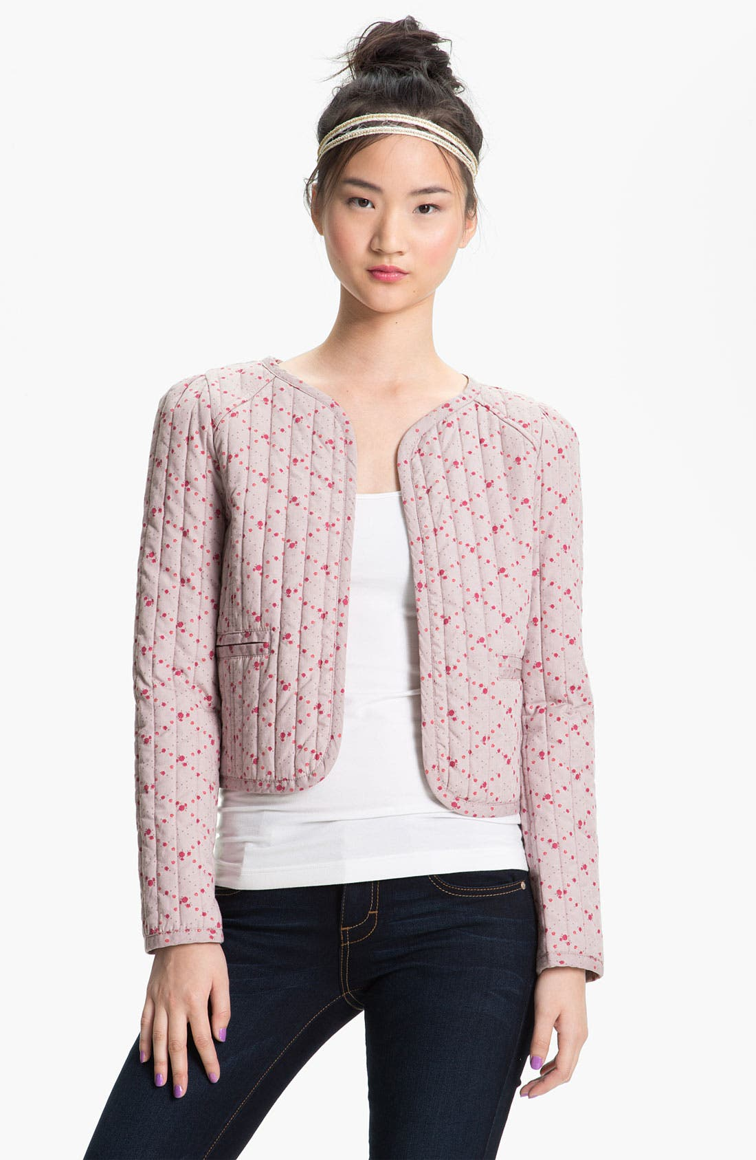 Alternate Image 1 Selected - Rubbish® Ditsy Print Quilted Jacket (Juniors)