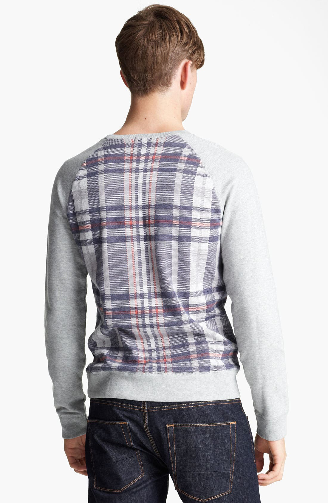 Alternate Image 2  - Topman Check Crewneck Sweatshirt
