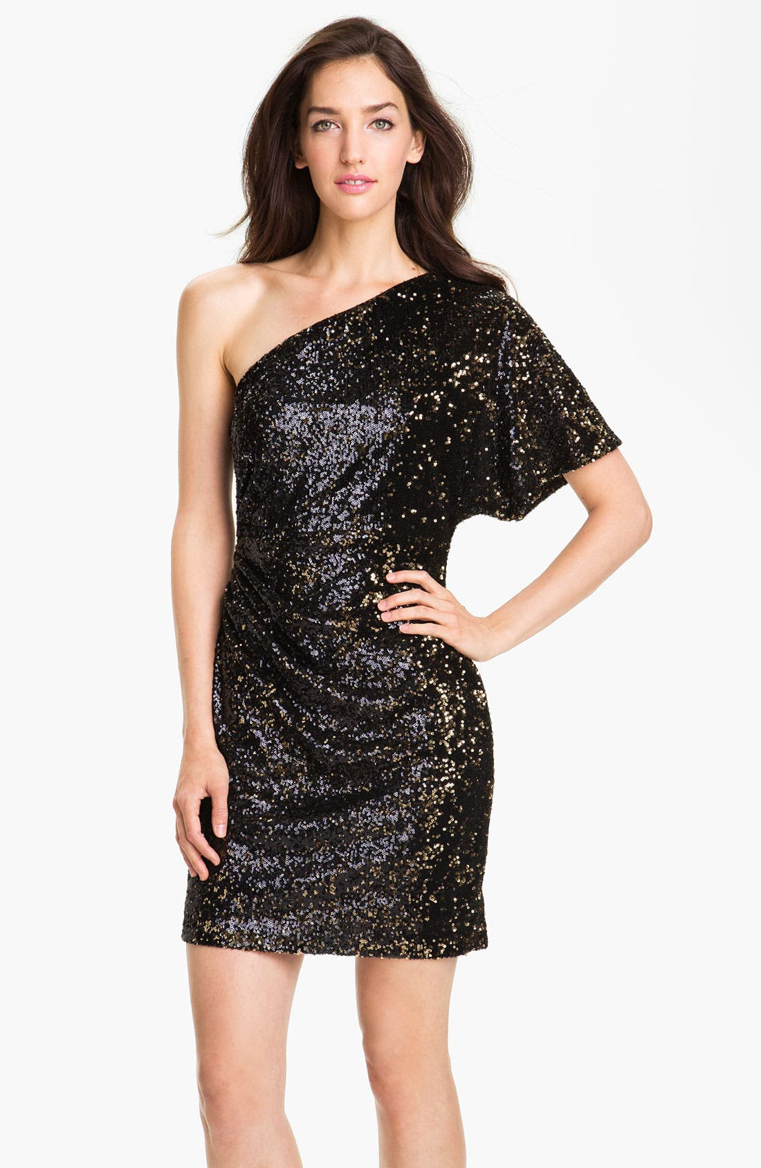 Alternate Image 1  - Sean Collection One Shoulder Ruched Sequin Dress