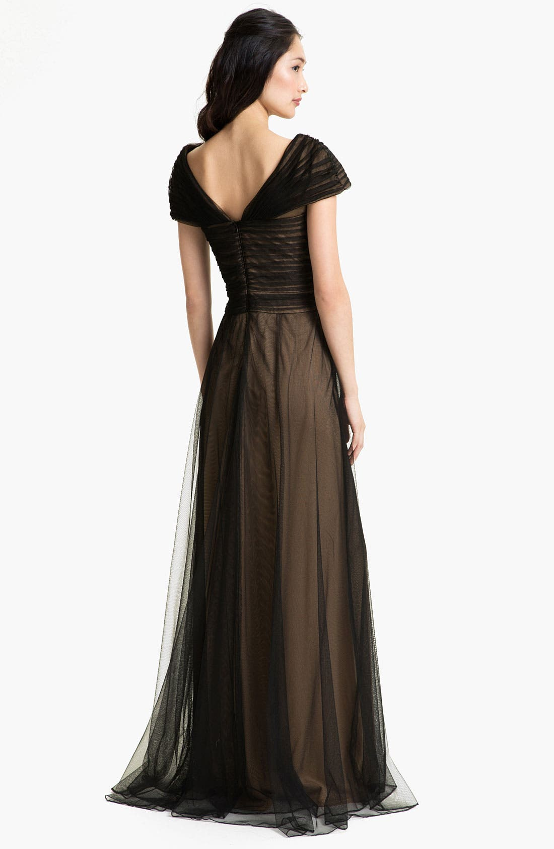 Alternate Image 2  - Tadashi Shoji Portrait Collar Pleated Mesh Gown (Regular & Petite)