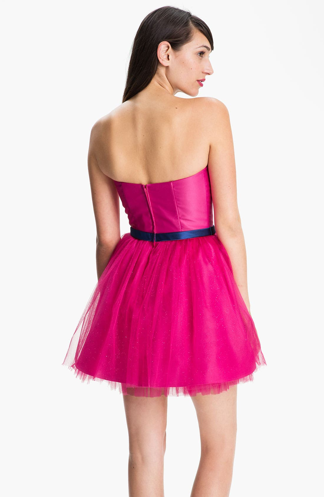Alternate Image 2  - Jessica McClintock Strapless Tulle Fit & Flare Dress