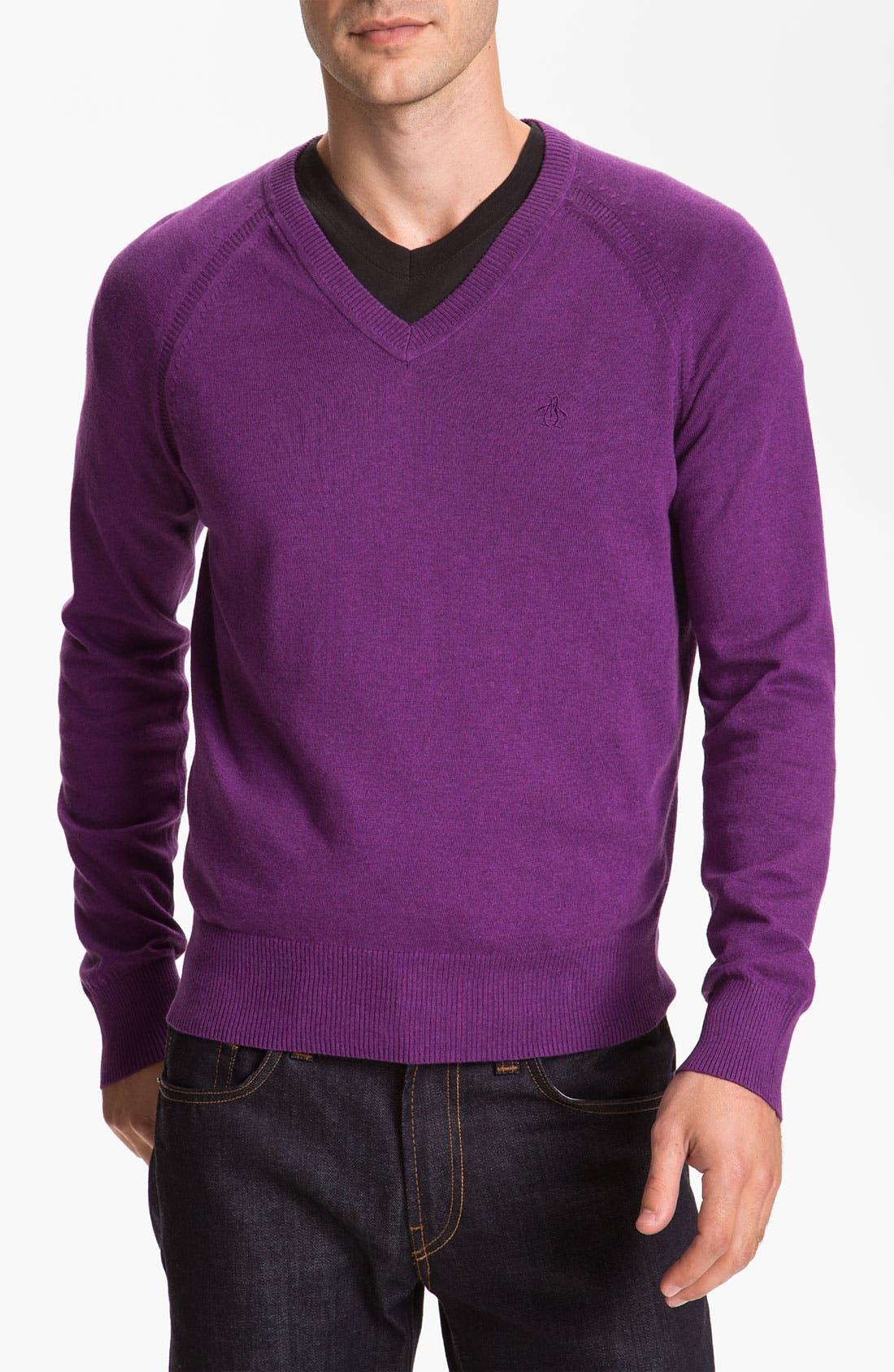Alternate Image 1 Selected - Original Penguin Pima Cotton V-Neck Sweater
