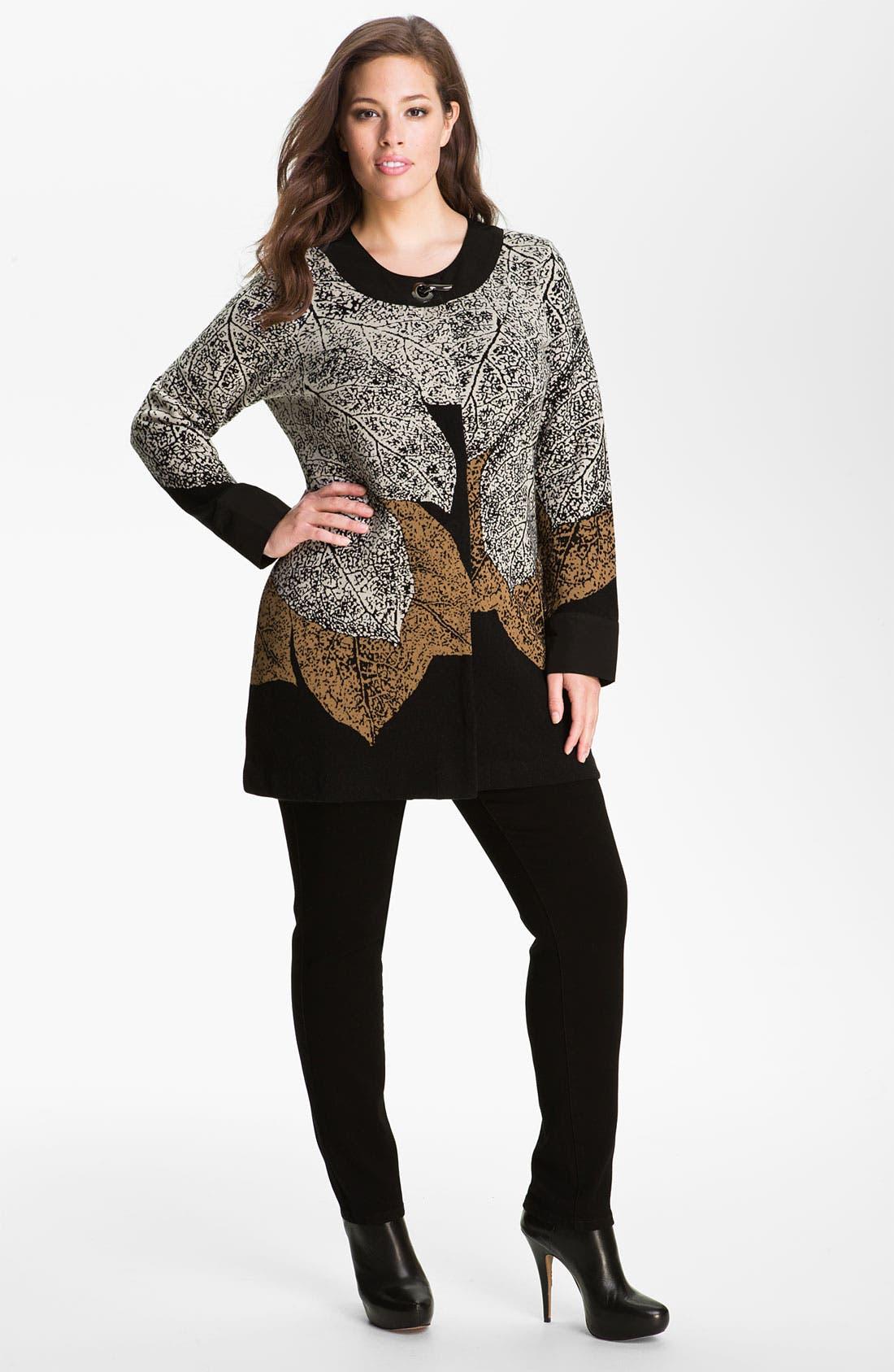 Main Image - Nic + Zoe 'Elegant Leaves' Sweater Jacket (Plus)