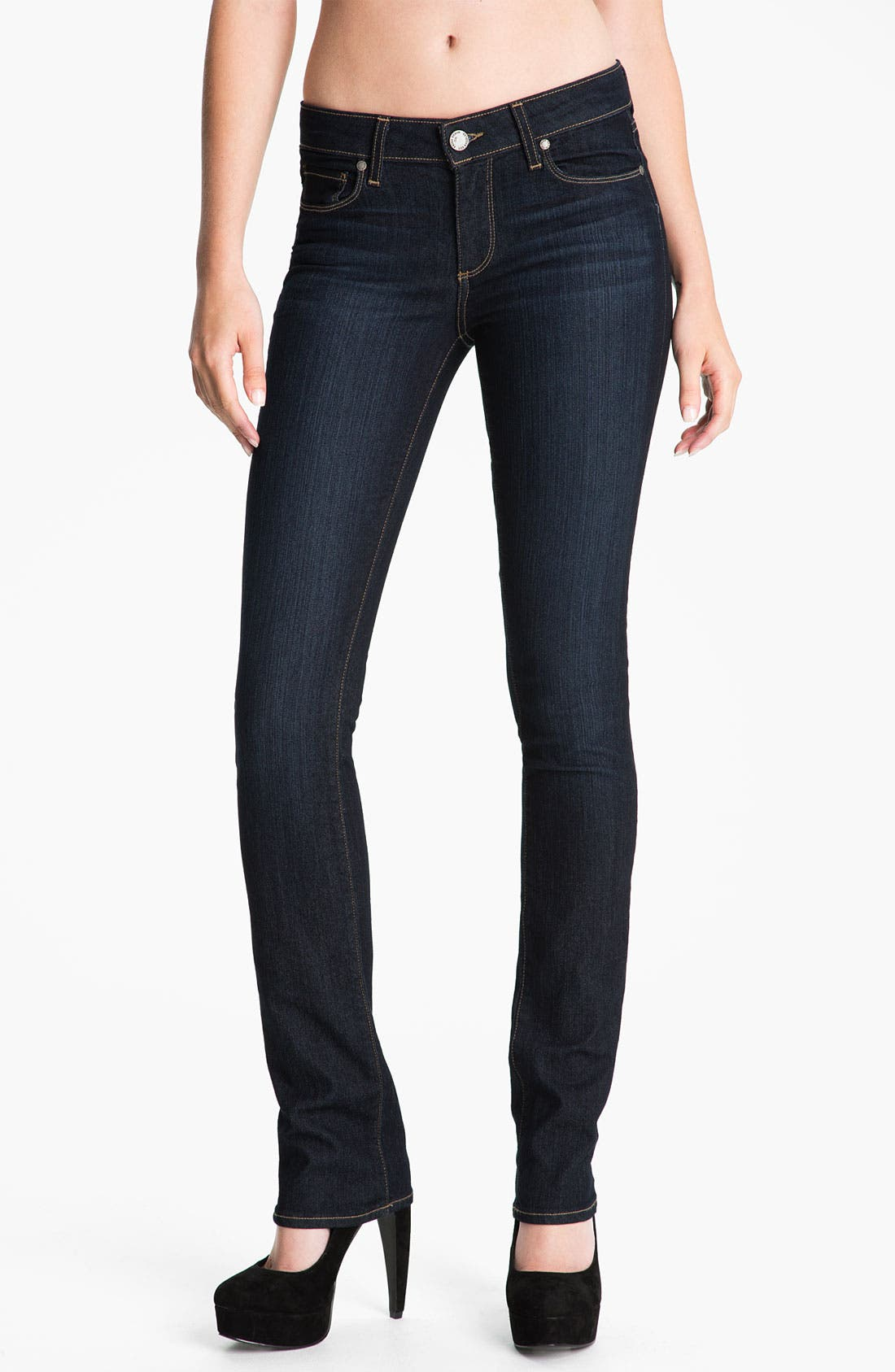 Alternate Image 1  - PAIGE 'Skyline' Straight Leg Stretch Denim Jeans (Stream Wash)