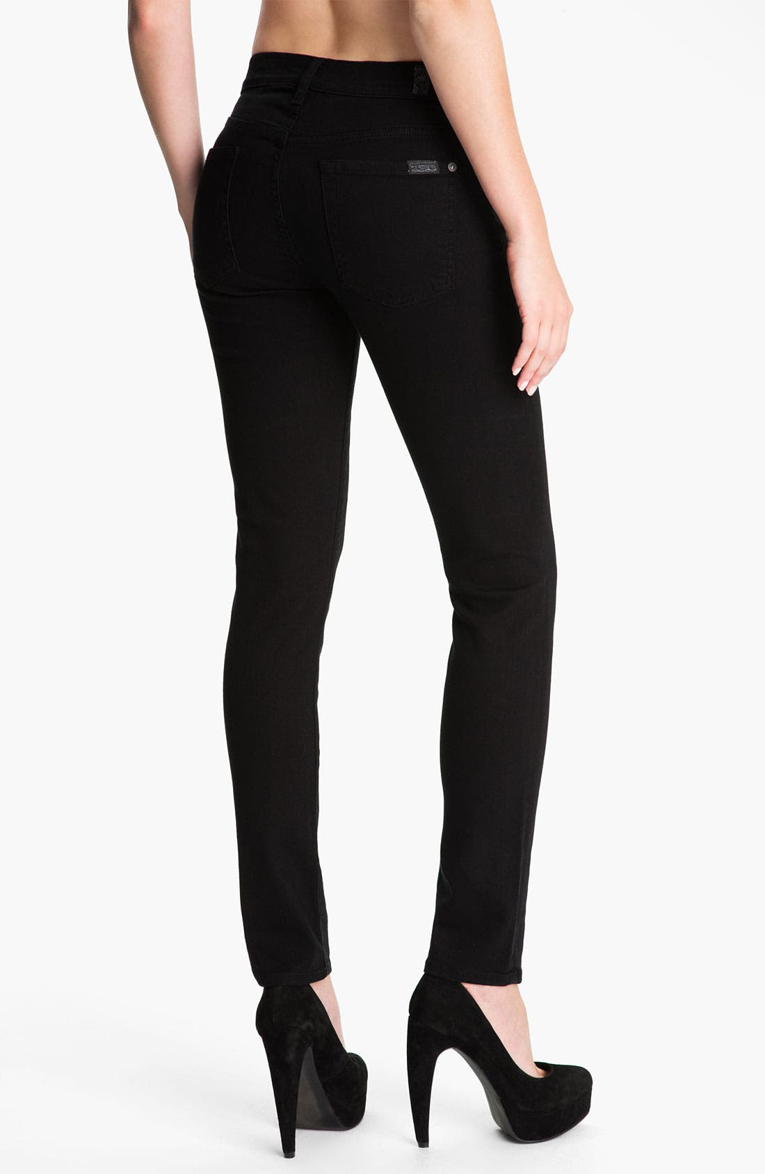 Alternate Image 2  - 7 For All Mankind® 'The Slim Cigarette' Stretch Jeans (Black)