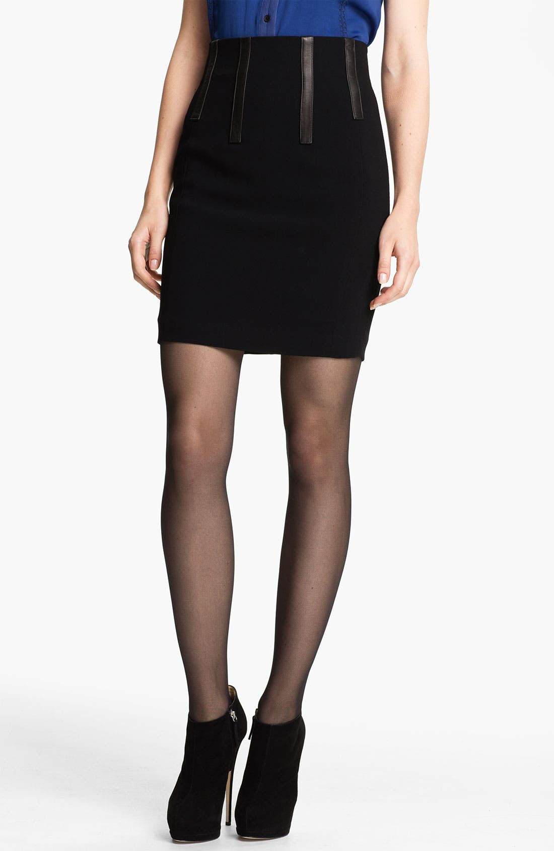 Main Image - rag & bone 'Imogen' Leather Trim Skirt
