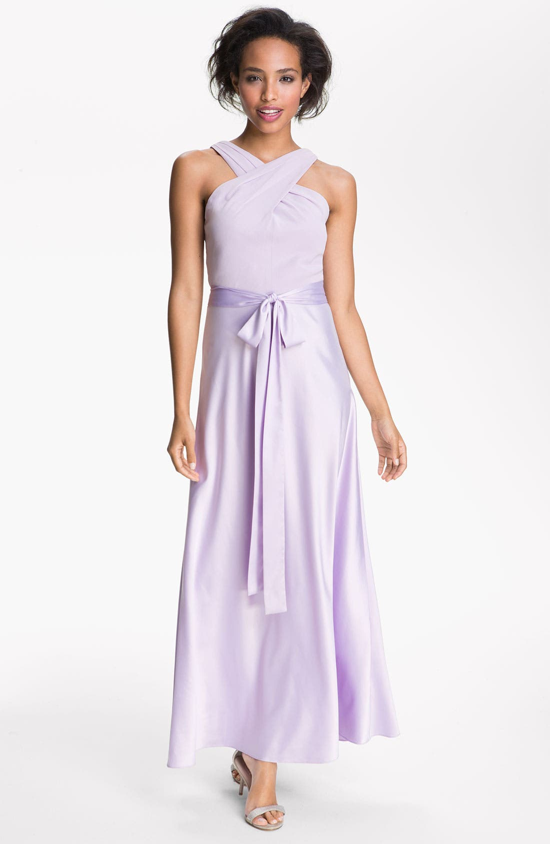 Alternate Image 1 Selected - Donna Morgan Cross Strap Chiffon & Charmeuse Gown