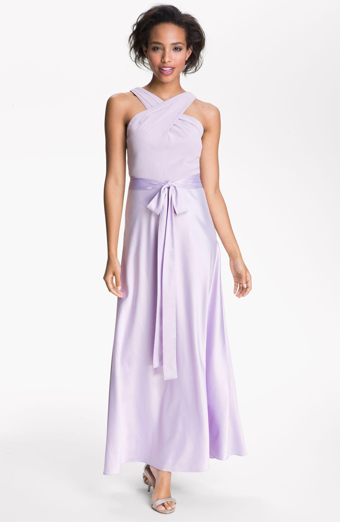 Main Image - Donna Morgan Cross Strap Chiffon & Charmeuse Gown
