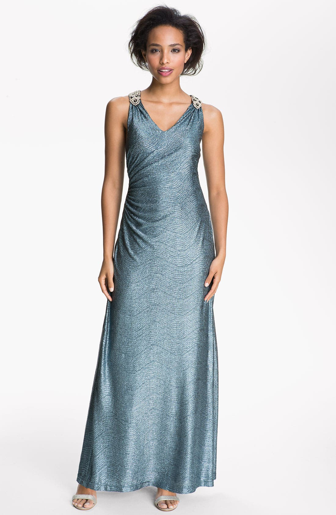 Main Image - Hailey by Adrianna Papell Metallic Jersey Racerback Gown