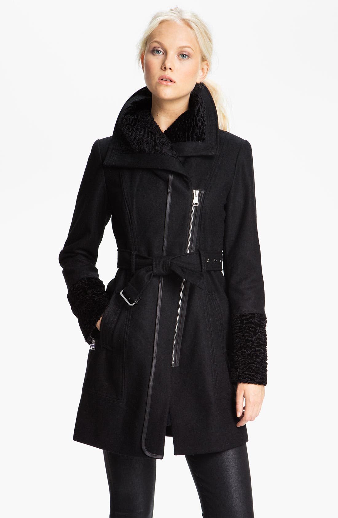 Main Image - GUESS Asymmetrical Zip Coat with Faux Fur Trim (Online Exclusive)