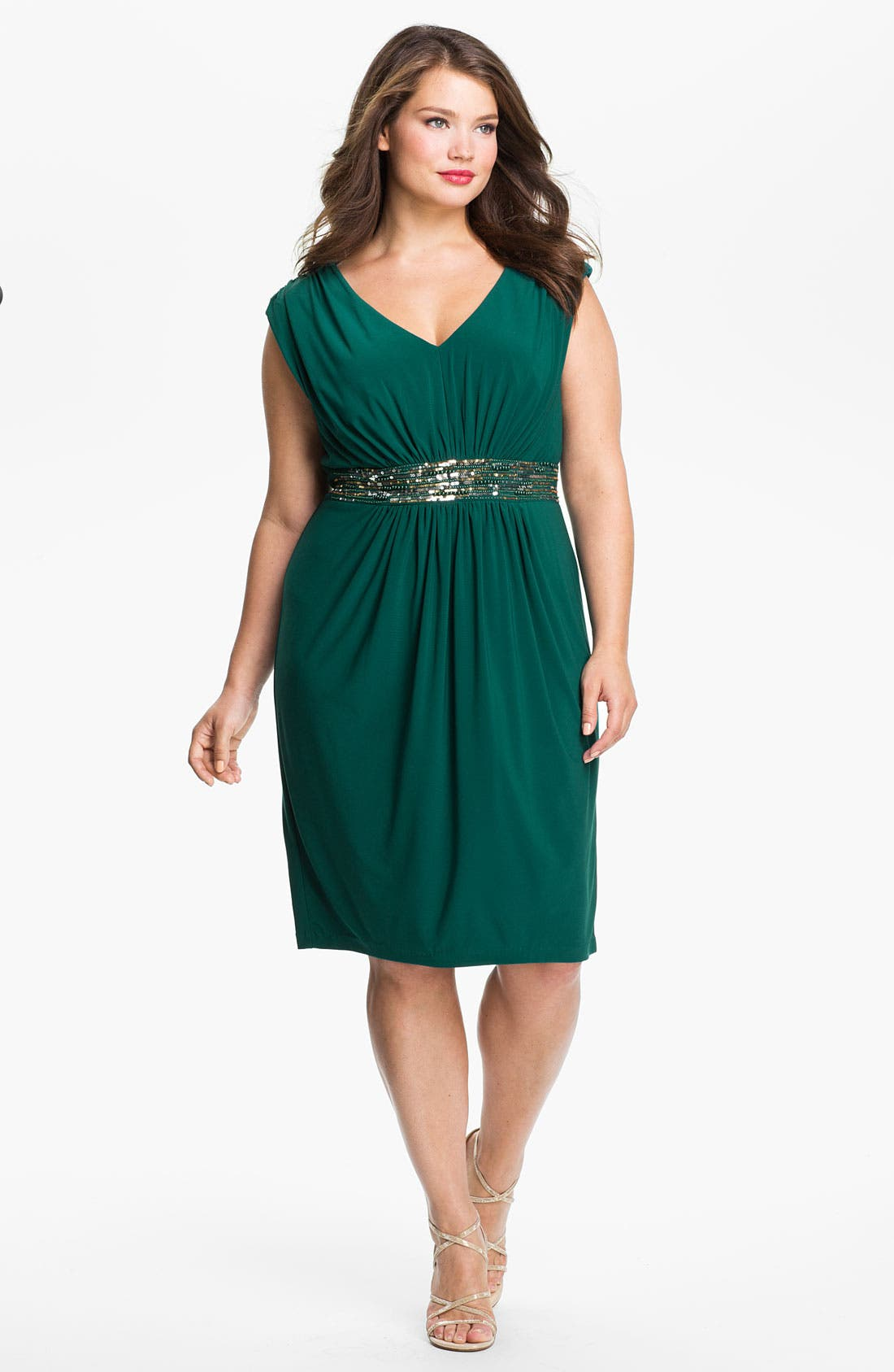 Alternate Image 1  - Alex Evenings Beaded Cap Sleeve Sheath Dress (Plus)