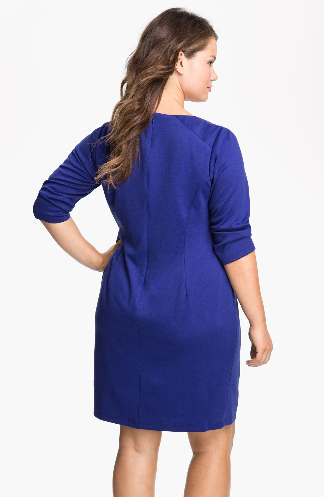 Alternate Image 2  - Jessica Simpson Zipper Detail Ponte Knit Sheath Dress (Plus)