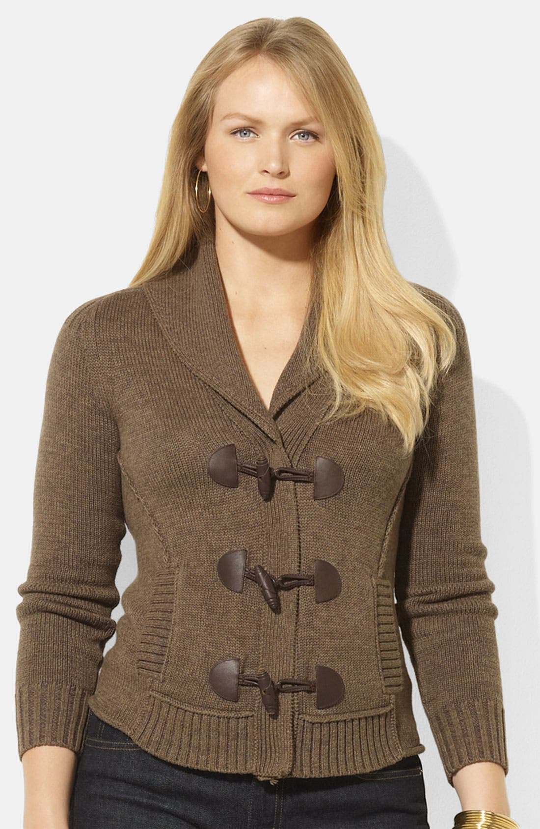 Alternate Image 1 Selected - Lauren Ralph Lauren Shawl Collar Cardigan (Plus)