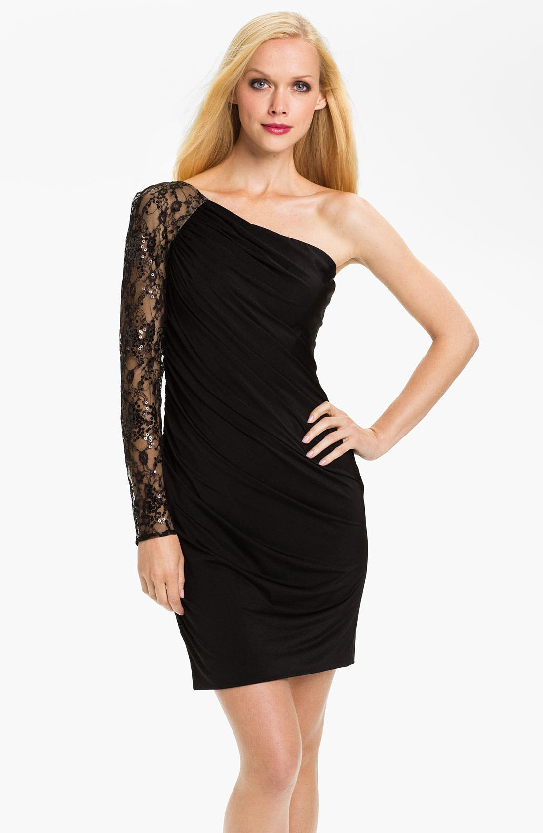 Main Image - Aidan Mattox One Sleeve Lace & Jersey Sheath Dress (Online Only)