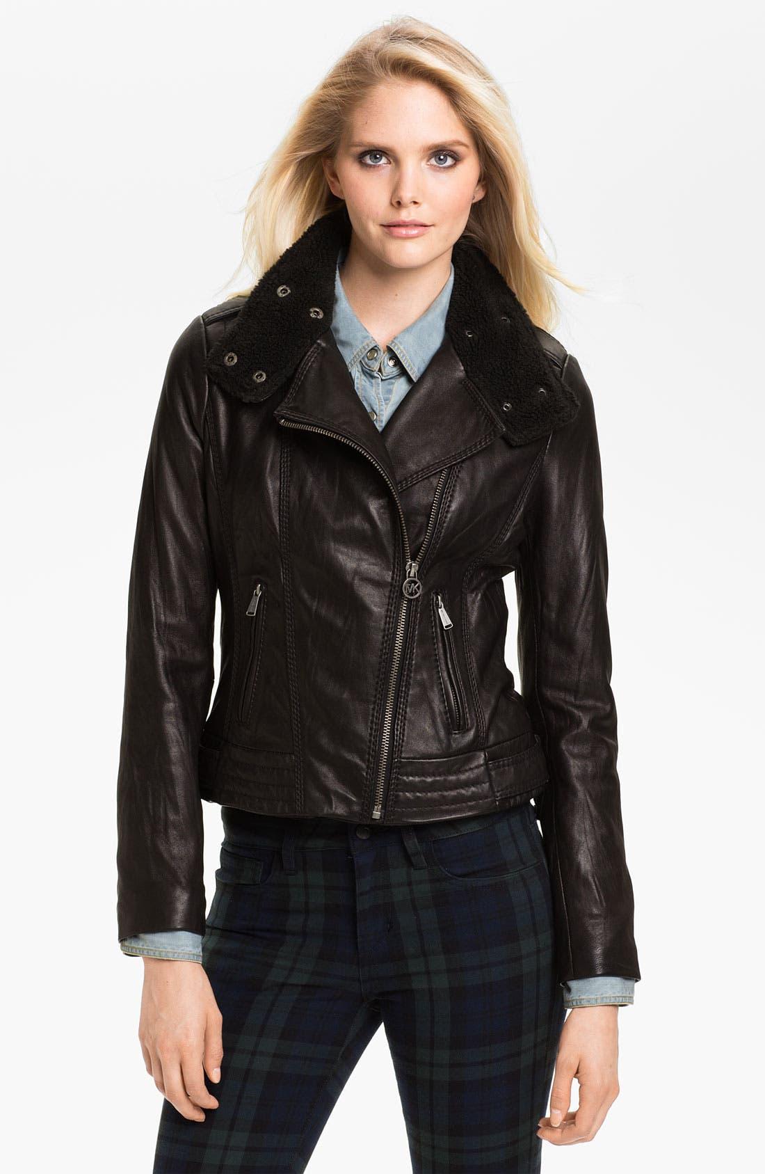Main Image - MICHAEL Michael Kors Asymmetrical Zip Leather Jacket