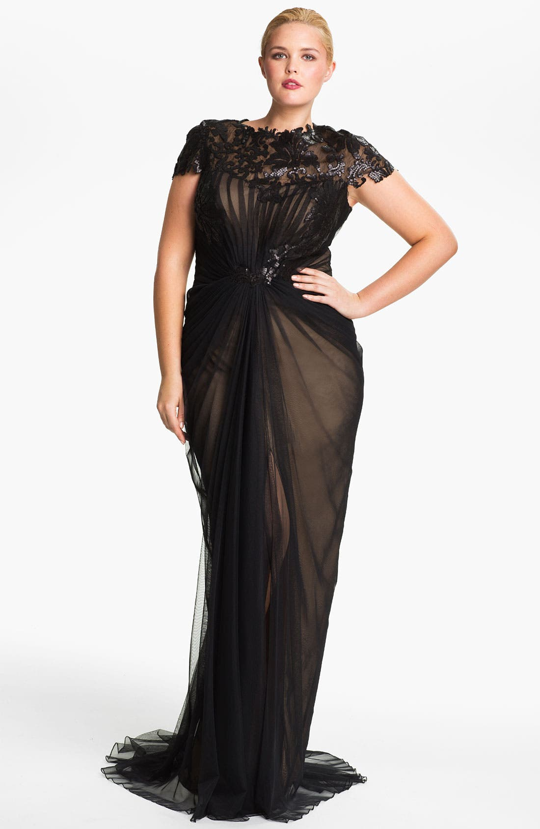 Main Image - Tadashi Shoji Chiffon & Lace Gown (Plus Size)