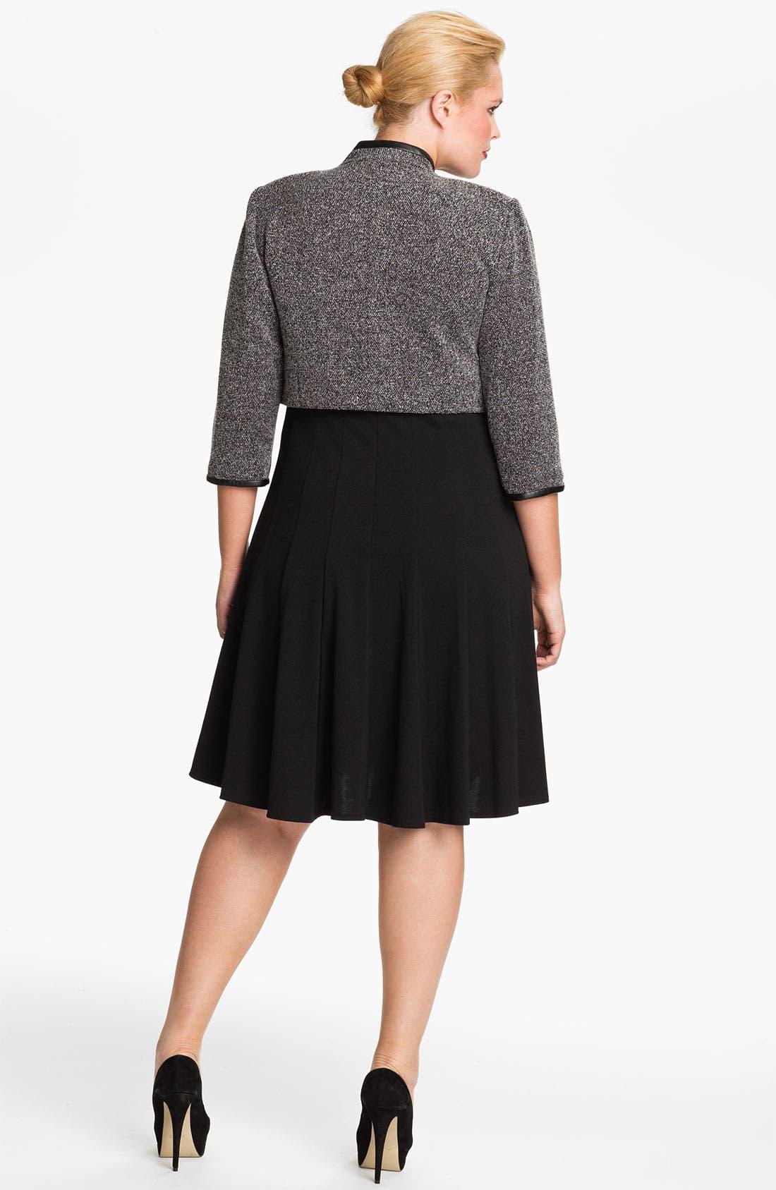 Alternate Image 2  - Eliza J Pleated Dress & Bolero Jacket (Plus)