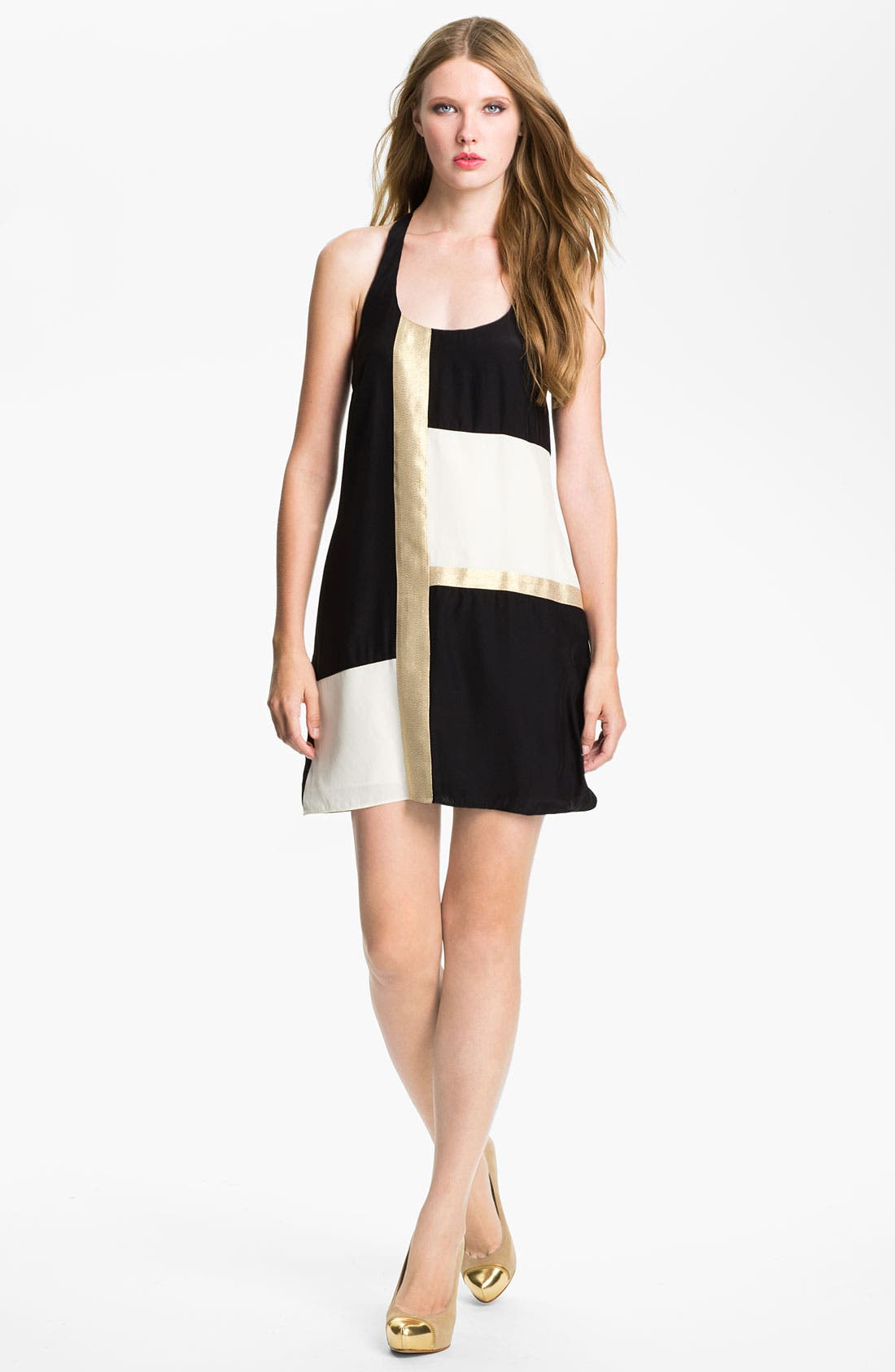 Main Image - ALICE & TRIXIE 'Mae' Metallic Colorblock Silk Shift Dress