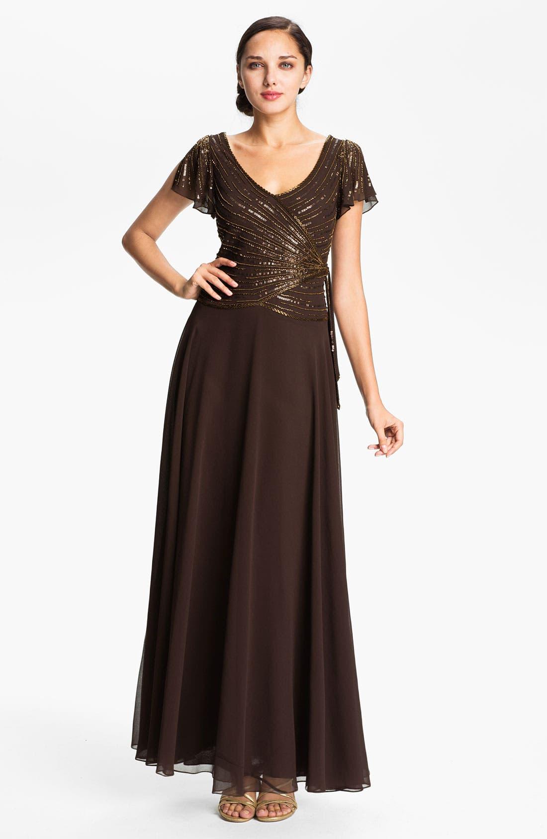 Main Image - J Kara Embellished V-Neck Bodice Chiffon Gown