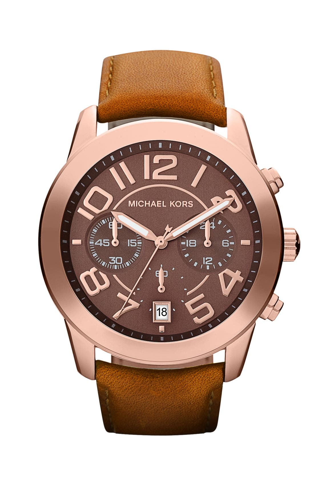 Alternate Image 1 Selected - Michael Kors Chronograph Leather Strap Watch, 41mm
