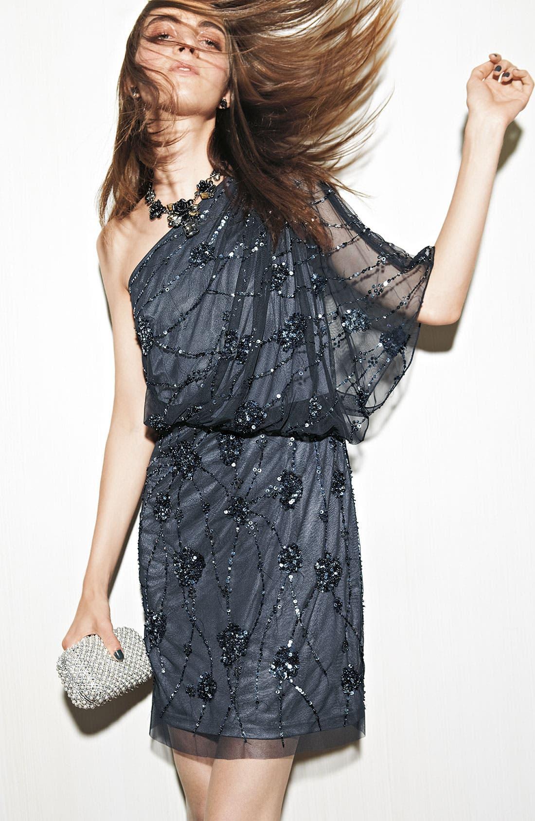 Alternate Image 4  - Adrianna Papell Embellished One Shoulder Mesh Dress