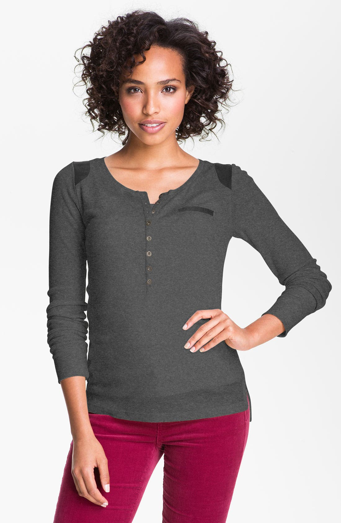 Alternate Image 1 Selected - Caslon® Faux Suede Trim Henley Top