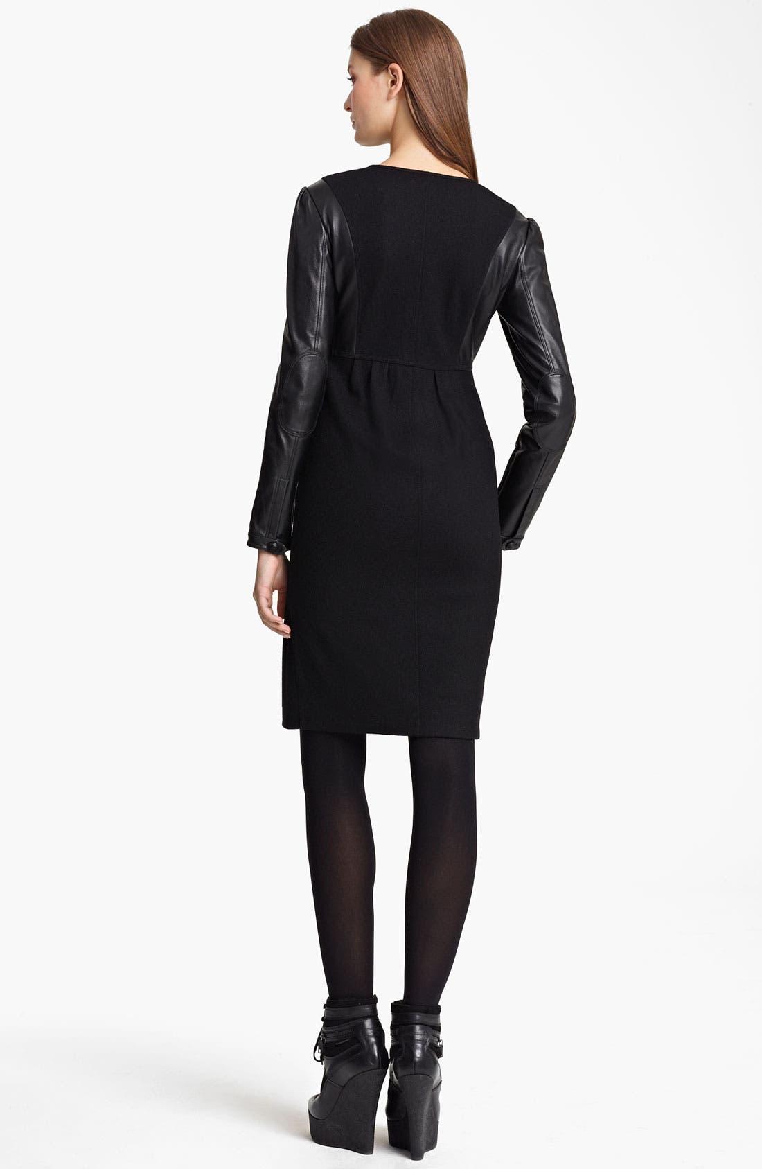 Alternate Image 2  - Burberry Brit Leather Sleeve Dress