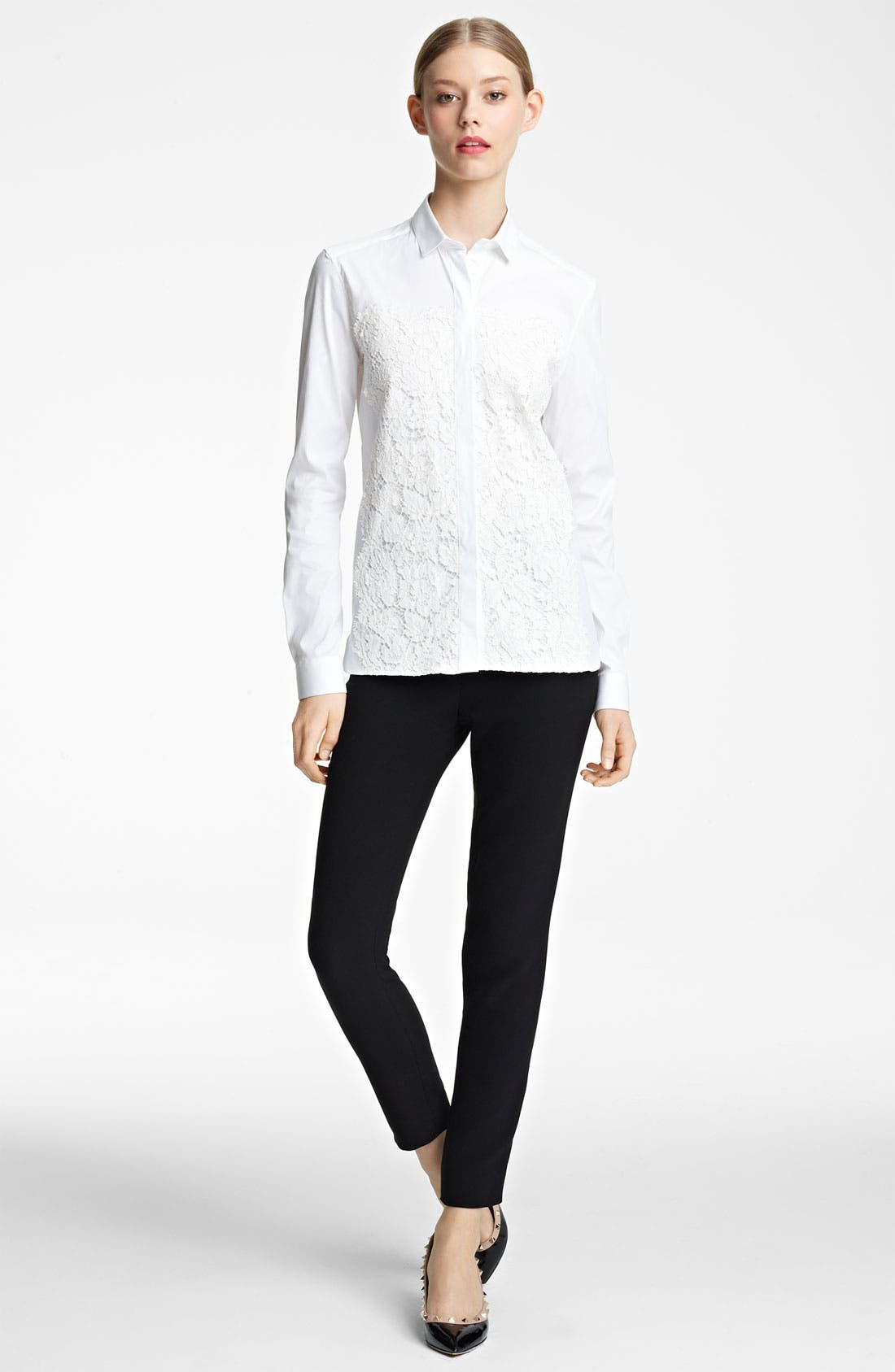 Alternate Image 1 Selected - Valentino Lace Inset Shirt