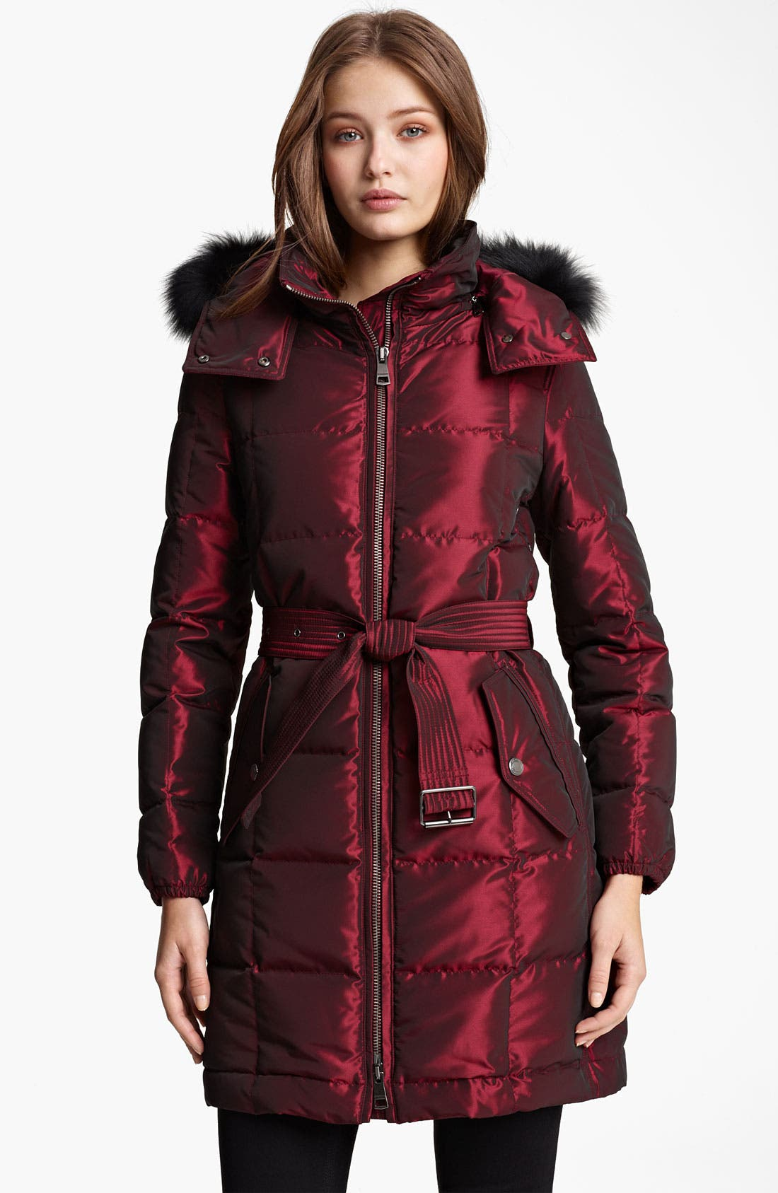Alternate Image 1 Selected - Burberry Brit Quilted Genuine Fox Fur Trim Down Jacket (Online Exclusive)