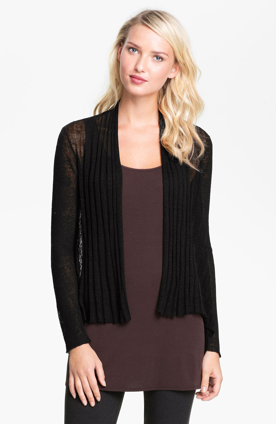 Main Image - Eileen Fisher Pleat Front Cardigan