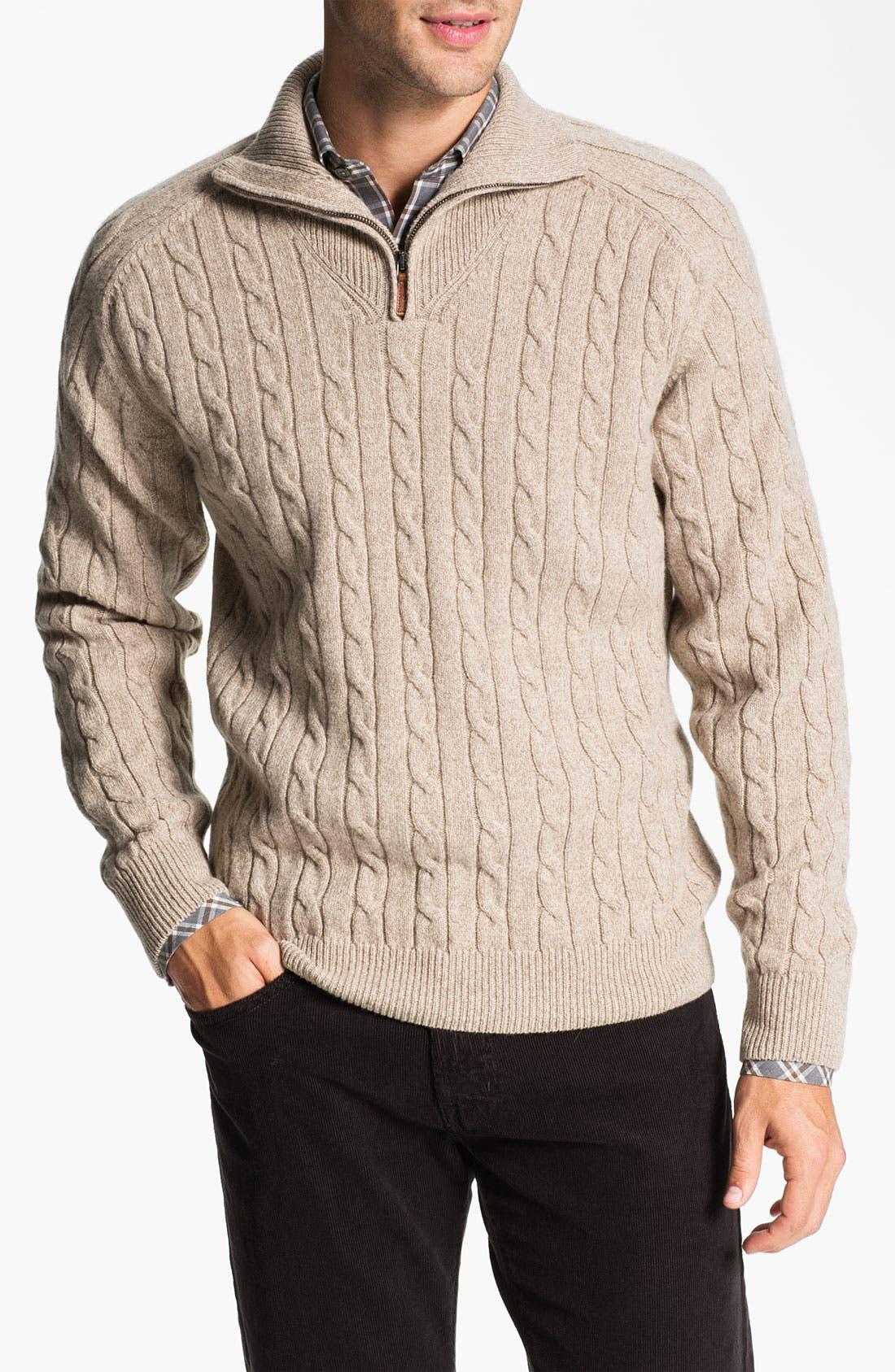 Main Image - Lora Gi Half Zip Wool & Cashmere Sweater