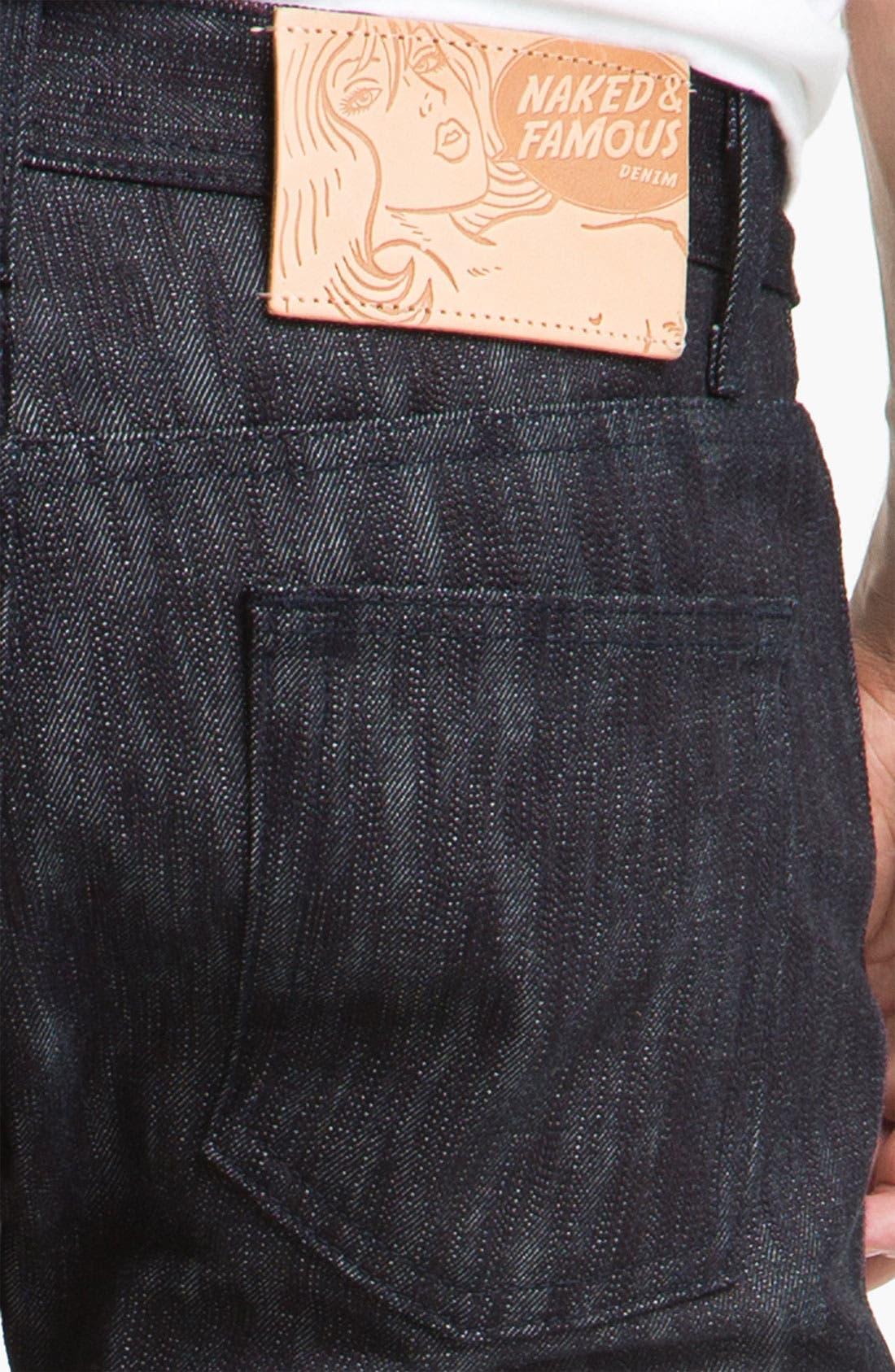 Alternate Image 4  - Naked & Famous Denim 'Weird Guy' Slim Tapered Leg Selvedge Jeans (Slubbed Indigo)