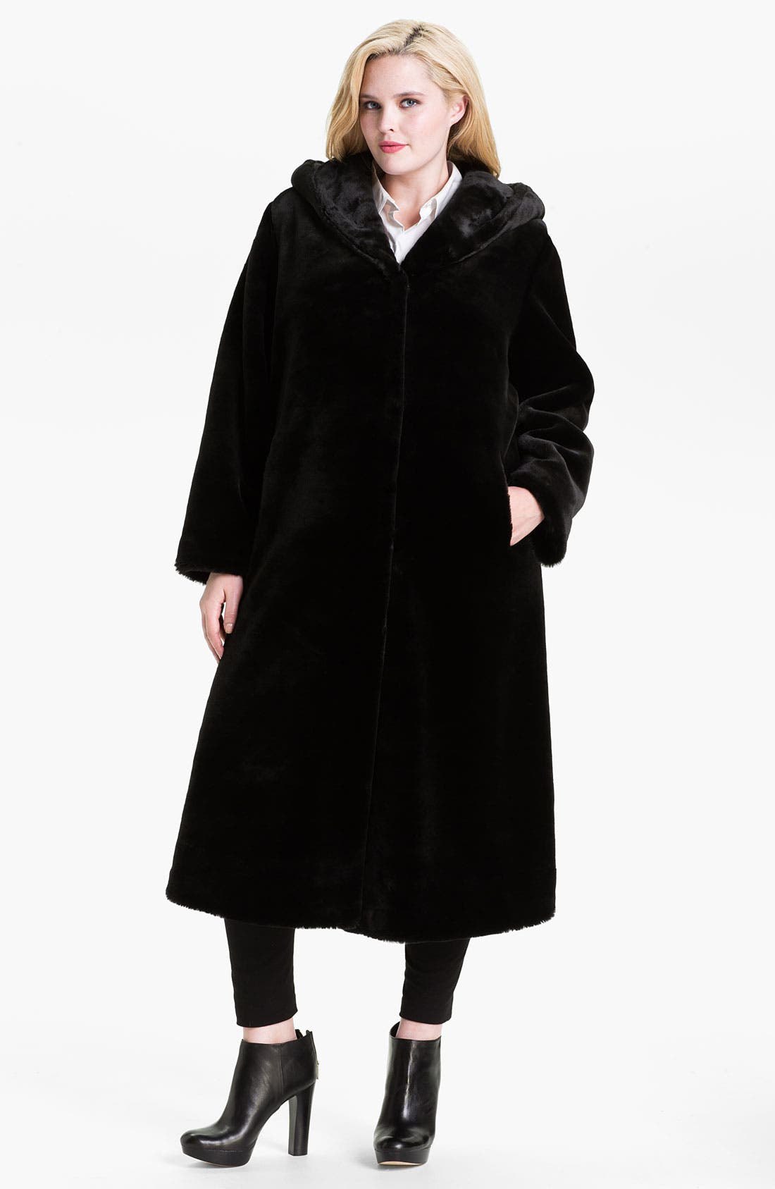 Main Image - Kristen Blake Hooded Faux Fur Coat (Plus)
