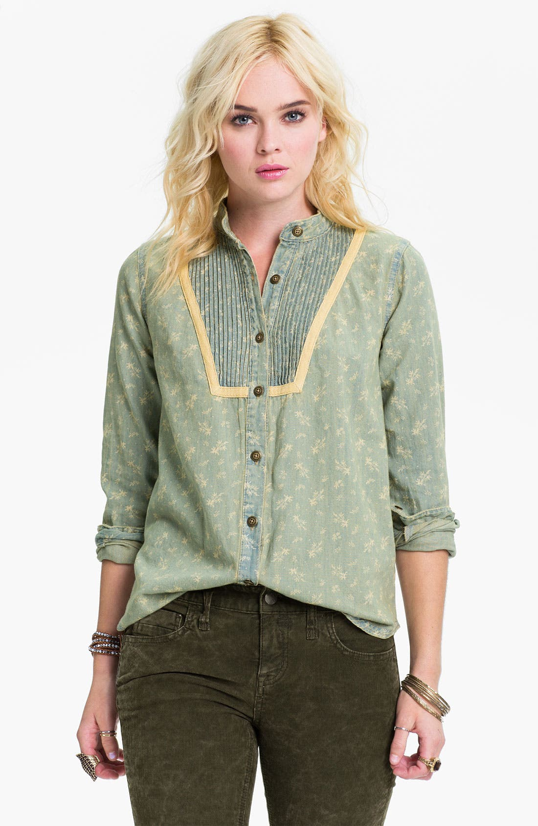 Alternate Image 1 Selected - Free People Bleached Chambray Tux Shirt