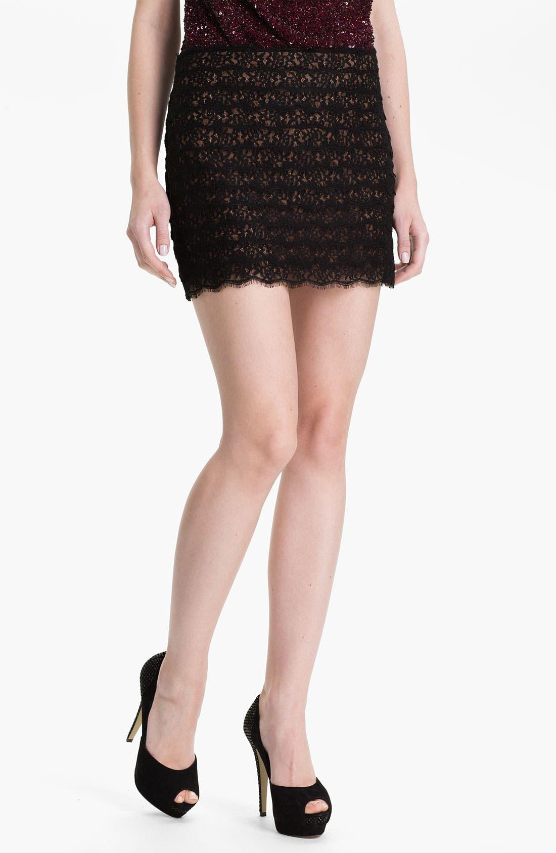 Main Image - Haute Hippie Lace Miniskirt