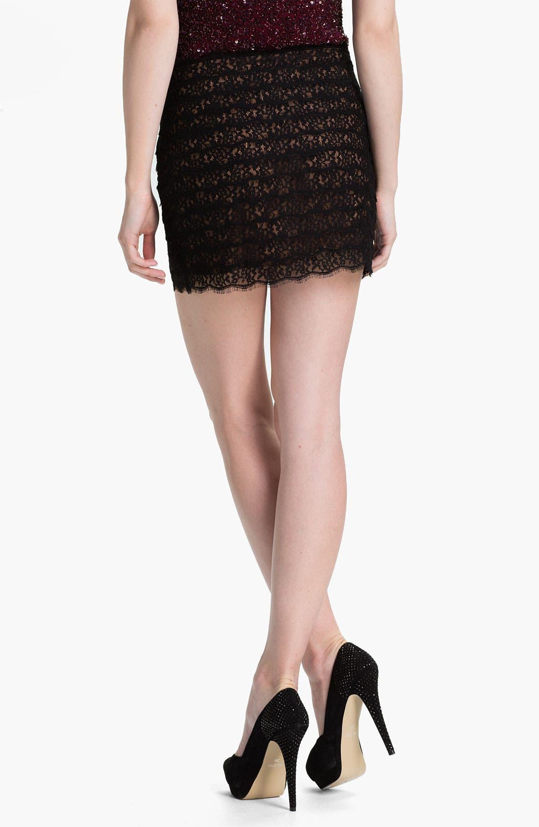 Alternate Image 2  - Haute Hippie Lace Miniskirt