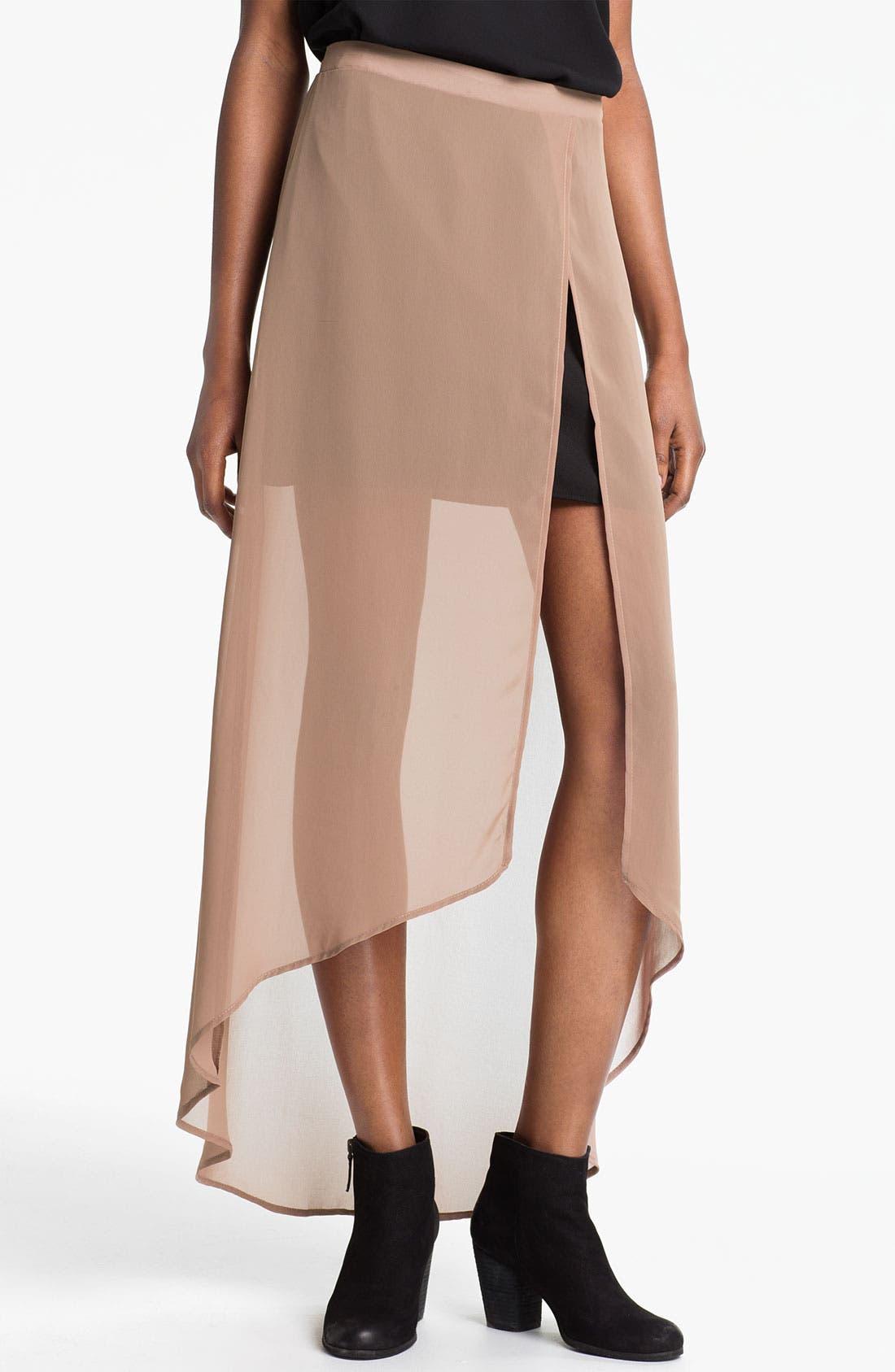 Main Image - Lush Layered High/Low Maxi Skirt (Juniors)