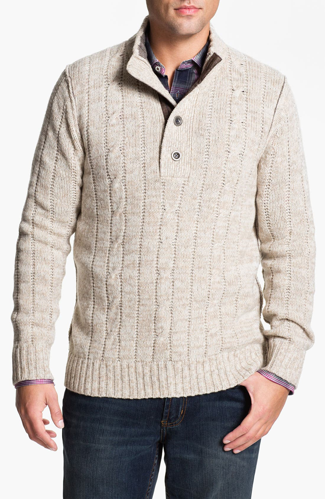 Main Image - Tommy Bahama 'Outer Banks' Mock Neck Cable Knit Sweater