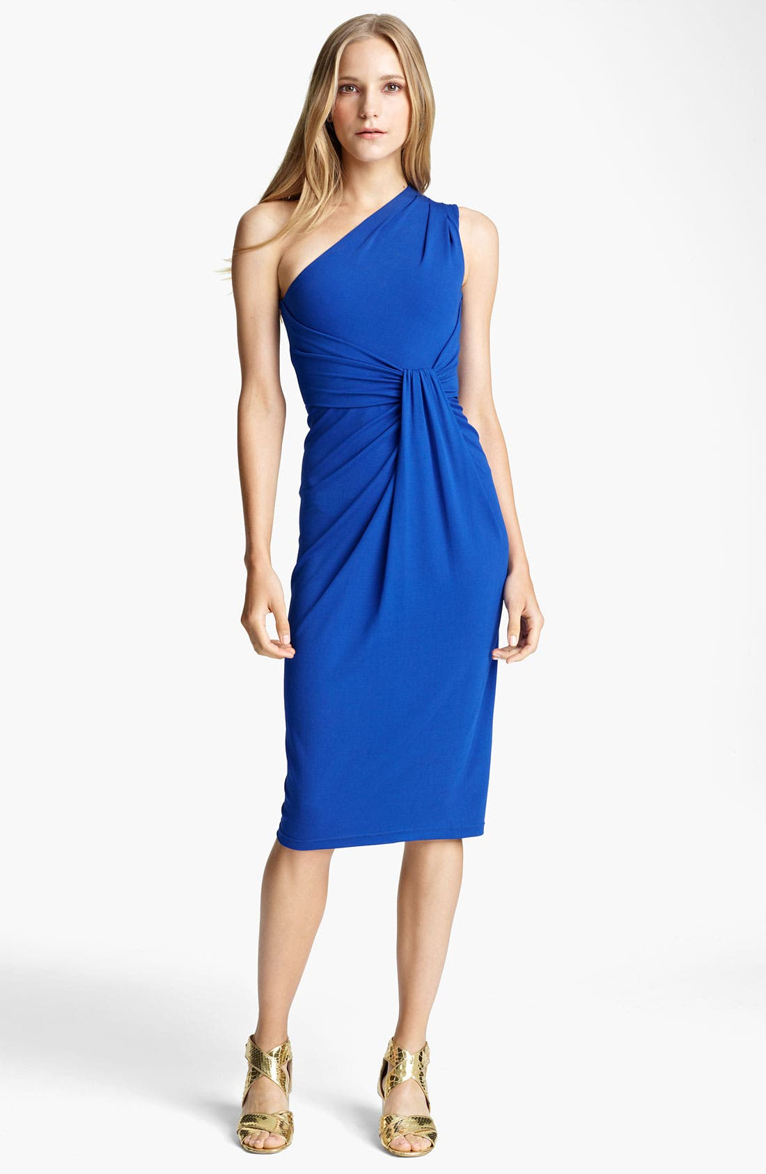 Alternate Image 1 Selected - Michael Kors One Shoulder Matte Jersey Sheath Dress