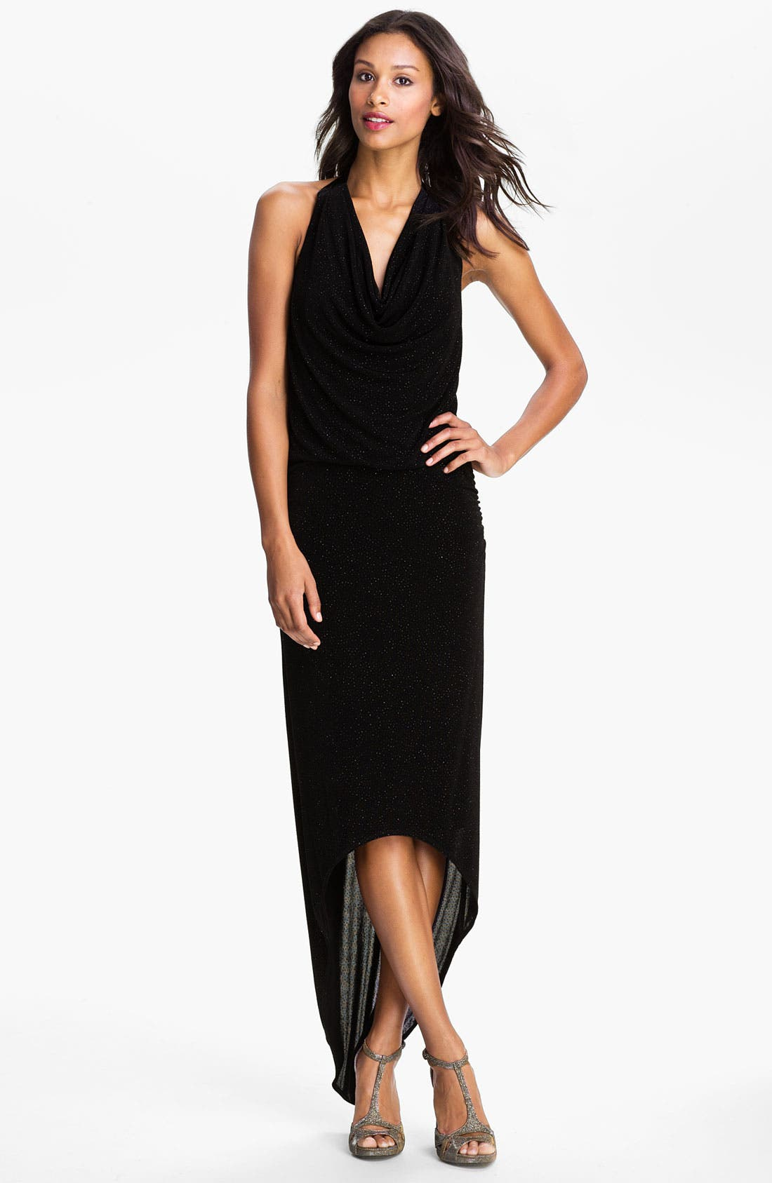 Alternate Image 1 Selected - Laundry by Shelli Segal High/Low Glitter Jersey Halter Gown