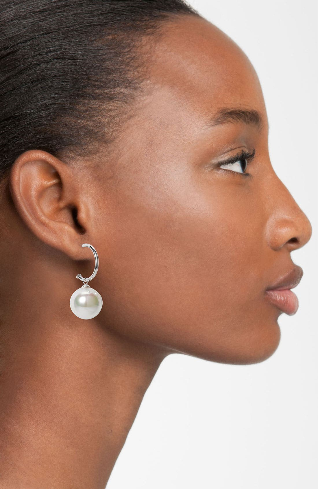 Alternate Image 2  - Majorica 8mm Pearl Hoop Drop Earrings