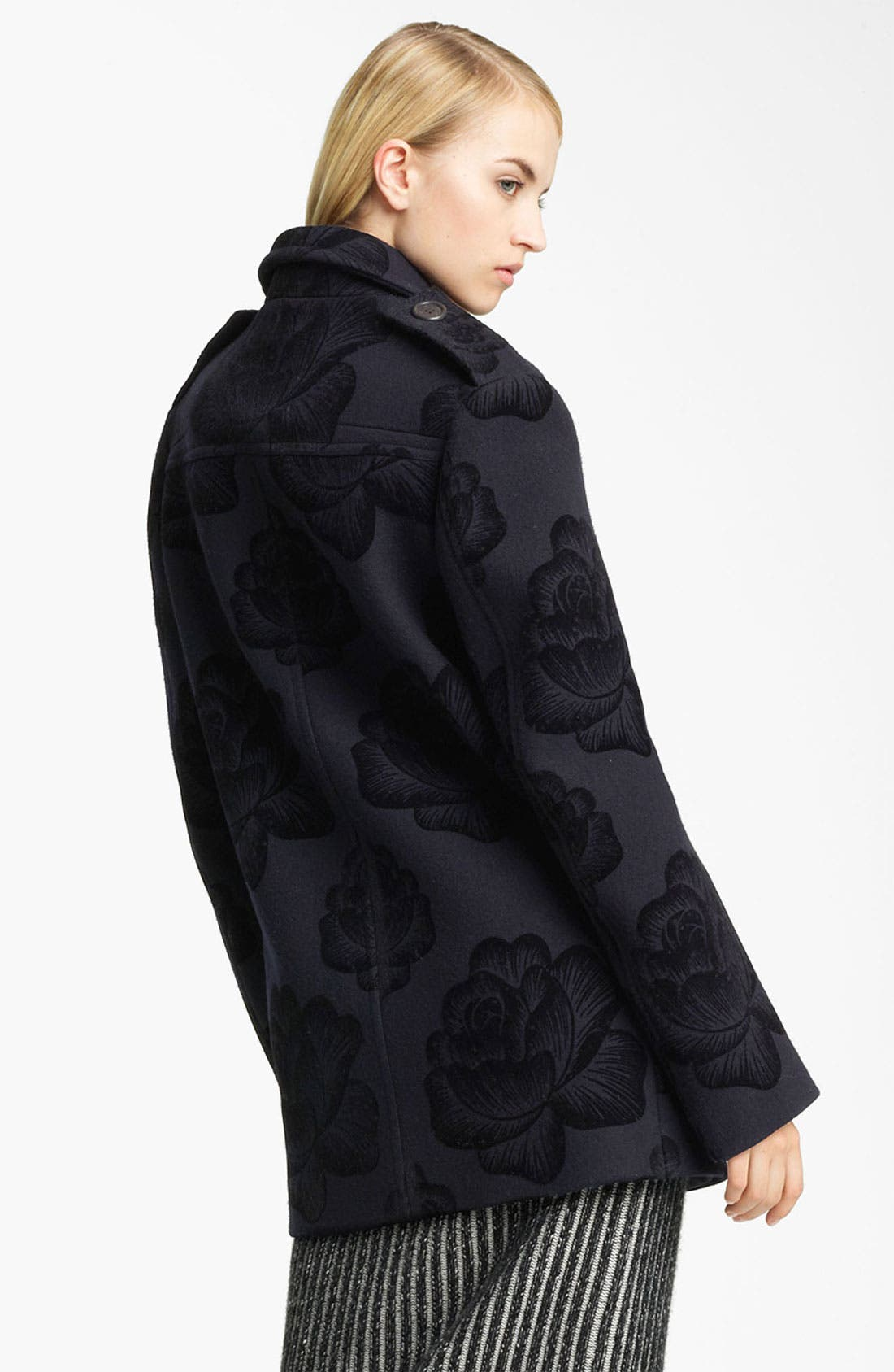 Alternate Image 2  - Christopher Kane Rose Flock Wool Blend Peacoat