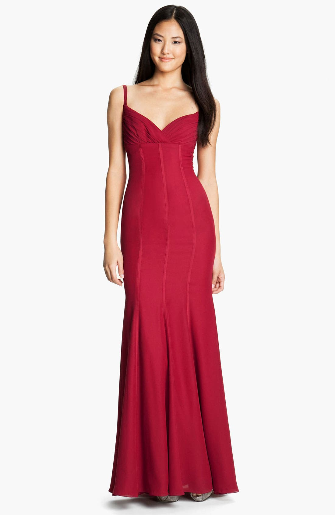 Main Image - ML Monique Lhuillier Bridesmaids Satin Trim Surplice Gown (Nordstrom Exclusive)