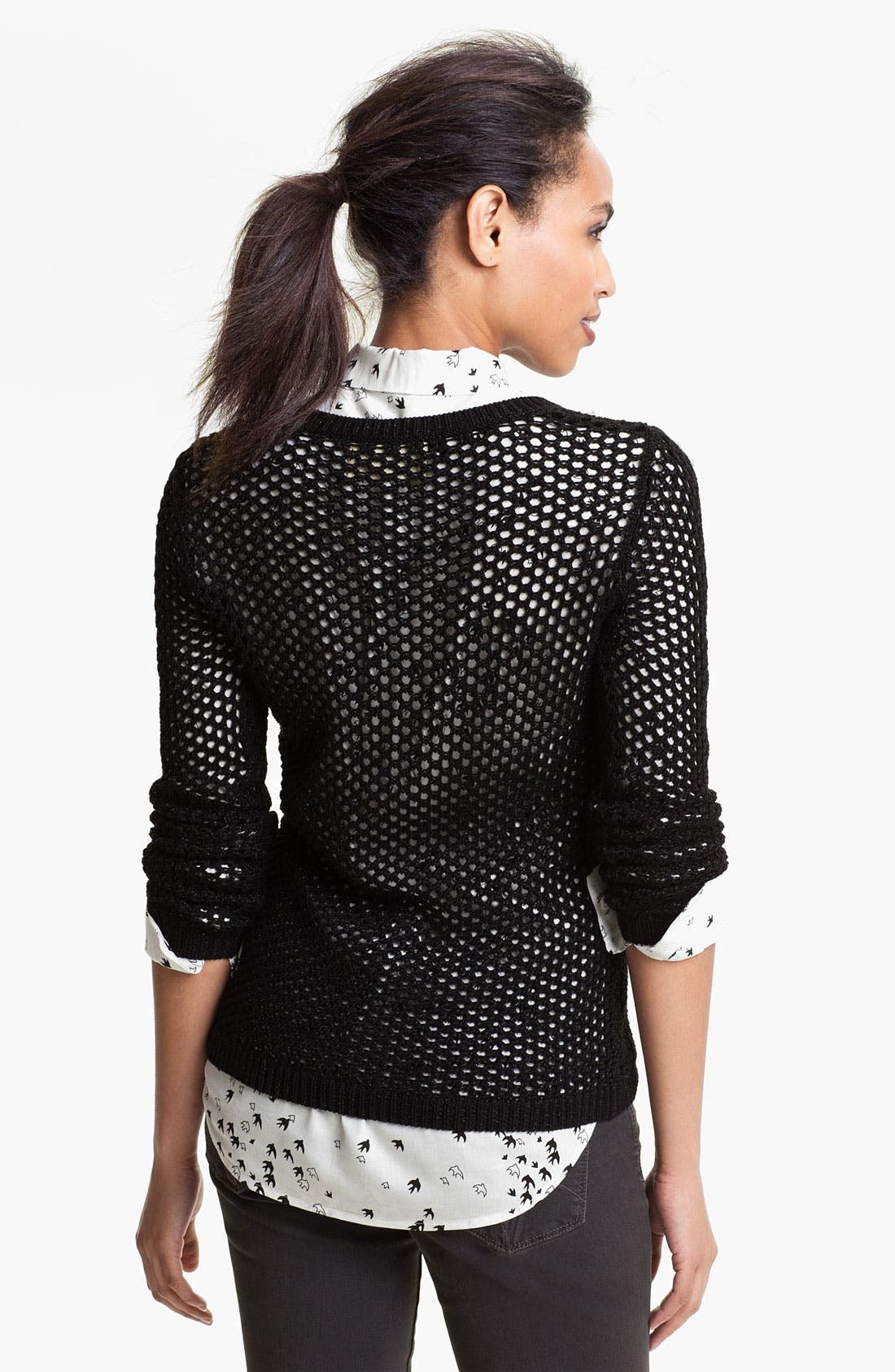 Alternate Image 2  - Two by Vince Camuto Fishnet Sweater